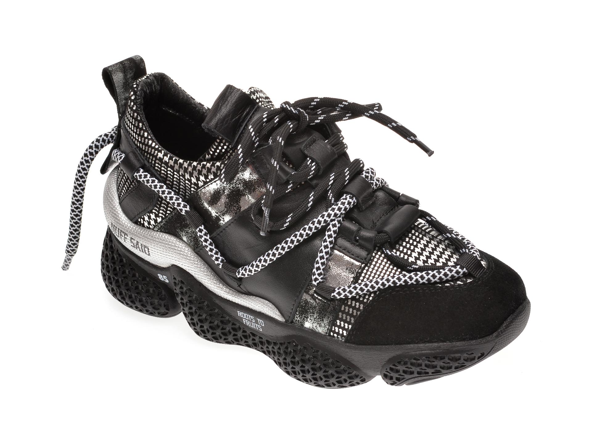 Pantofi sport FLAVIA PASSINI negri, 135P44, din material textil si piele naturala