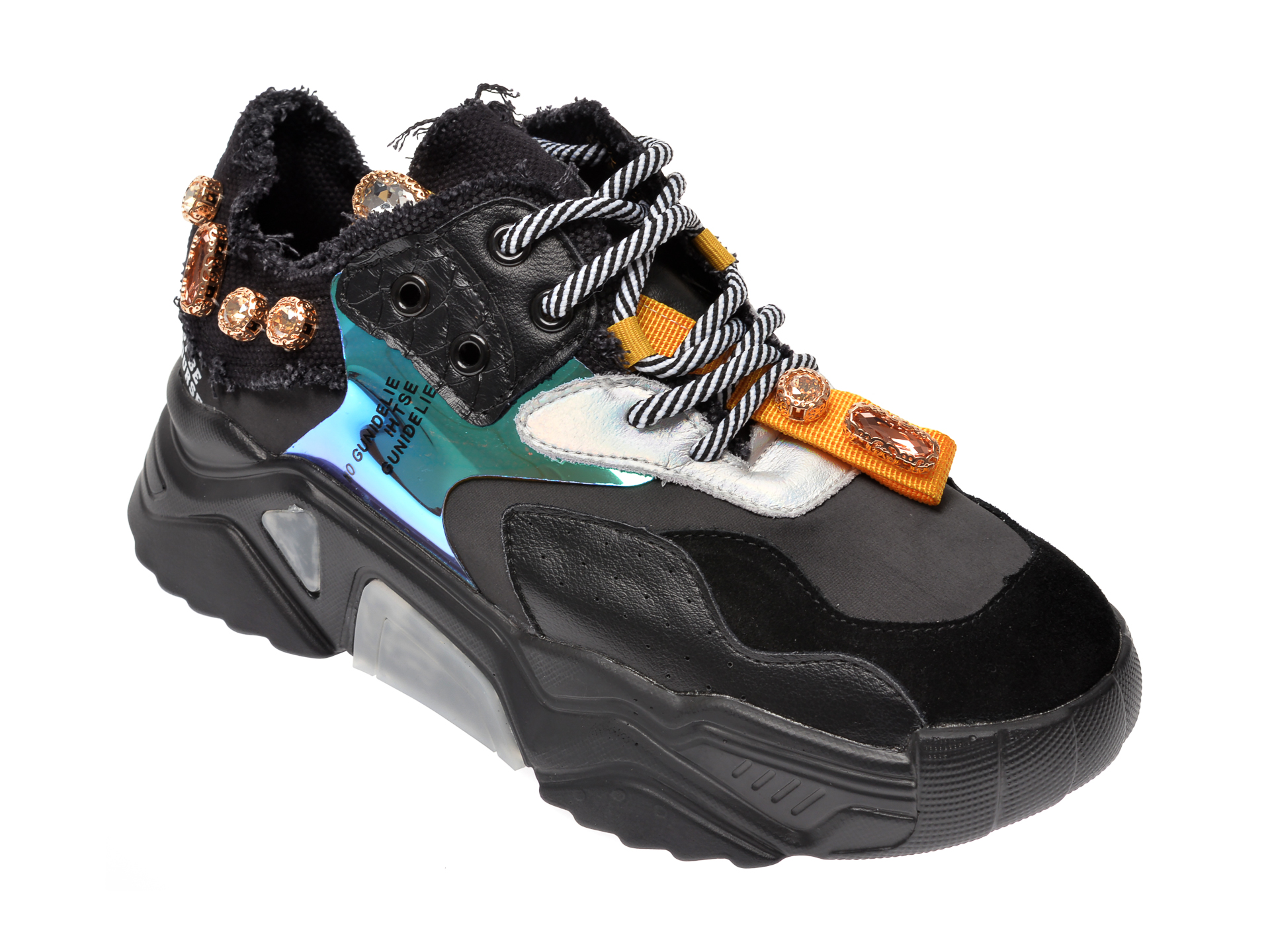 Pantofi sport FLAVIA PASSINI negri, 19220, din material textil si piele naturala