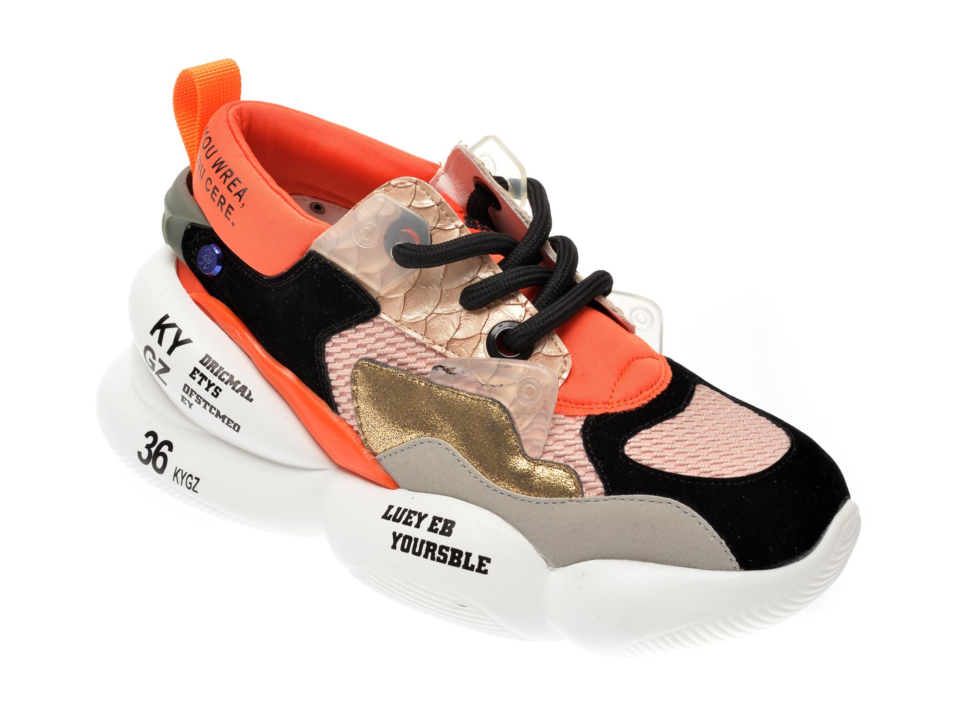Pantofi sport FLAVIA PASSINI negri, 8081, din material textil si piele naturala imagine