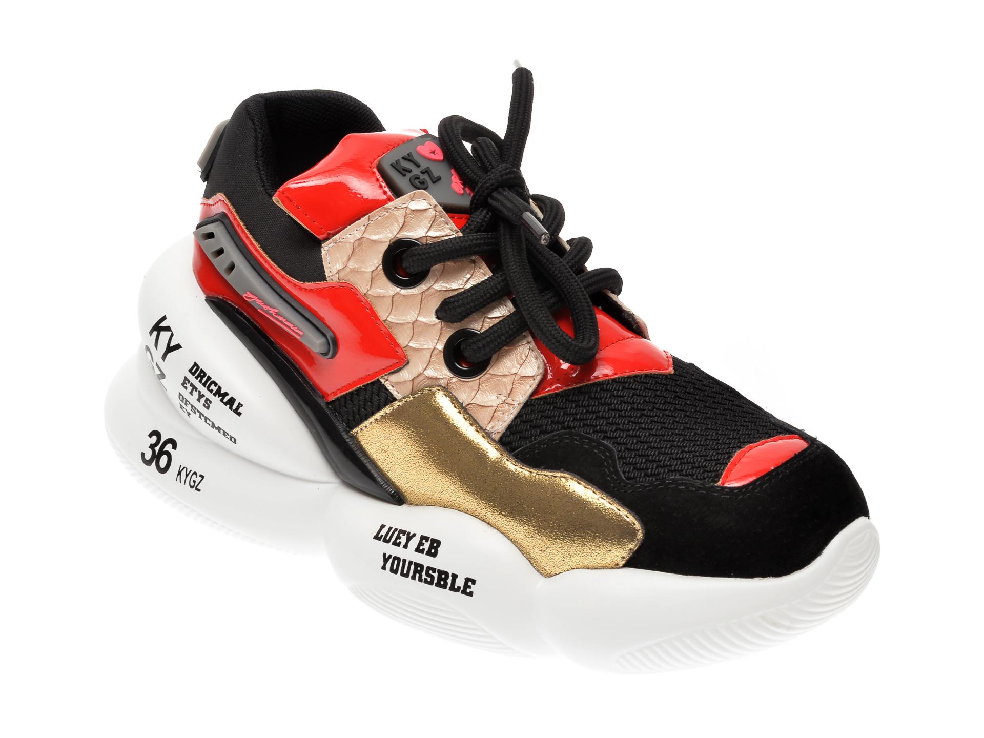 Pantofi sport FLAVIA PASSINI negri, 8086, din material textil si piele naturala