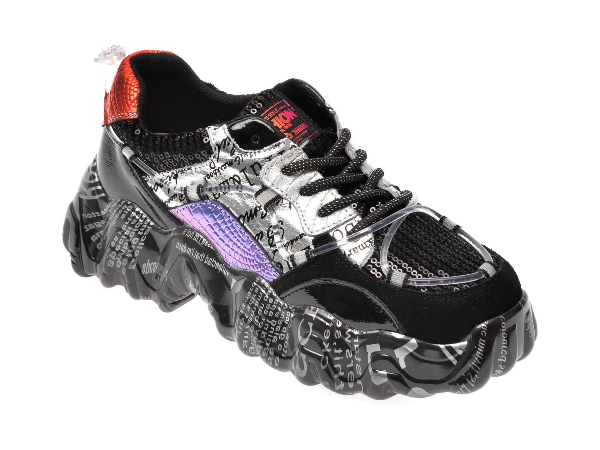 Pantofi sport FLAVIA PASSINI negri, L1138, din material textil si piele naturala