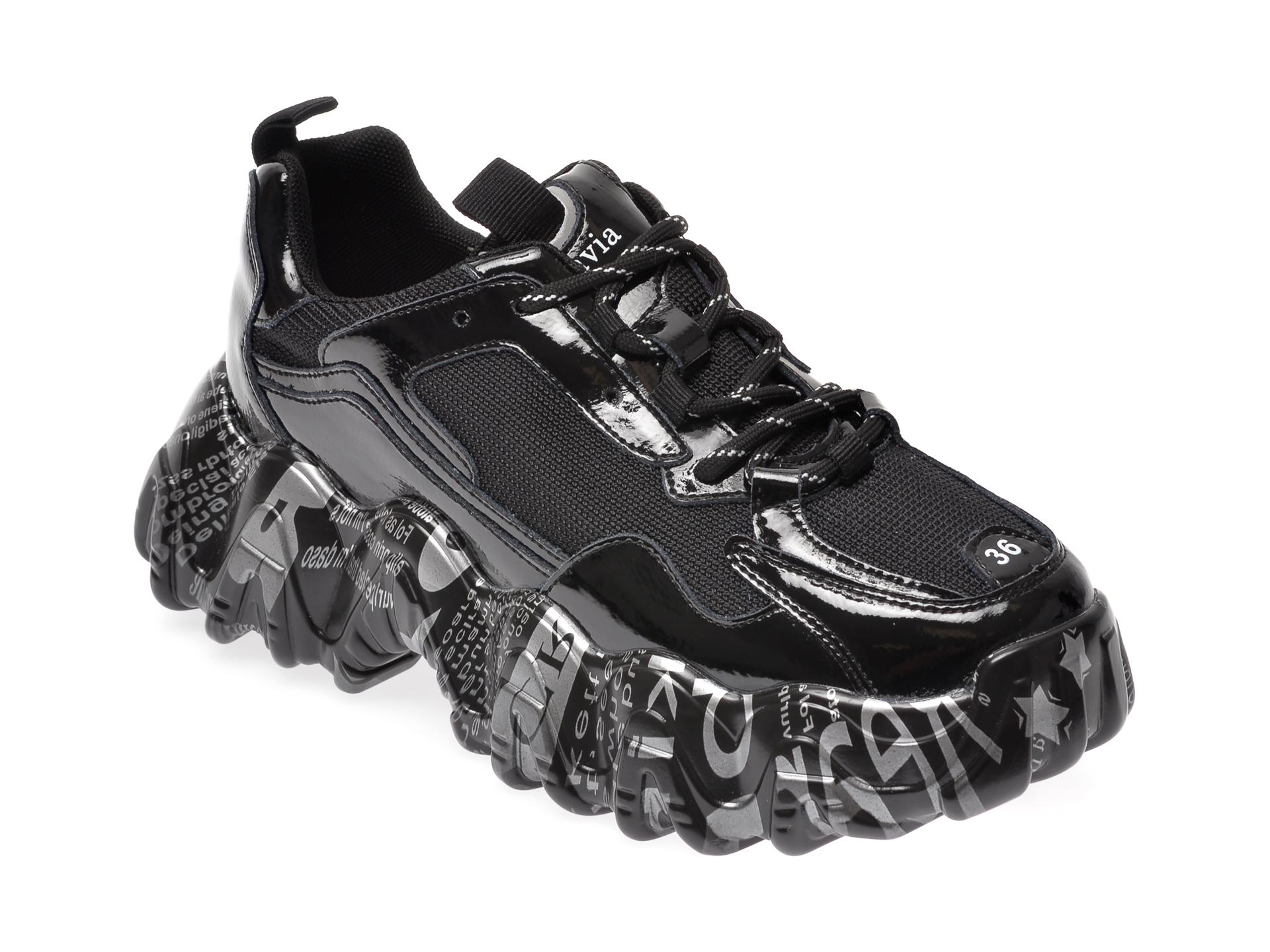 Pantofi sport FLAVIA PASSINI negri, YC90012, din material textil si piele naturala