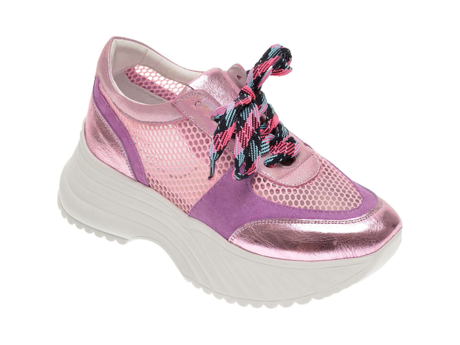 Pantofi sport FLAVIA PASSINI roz, 135P82, din material textil si piele naturala