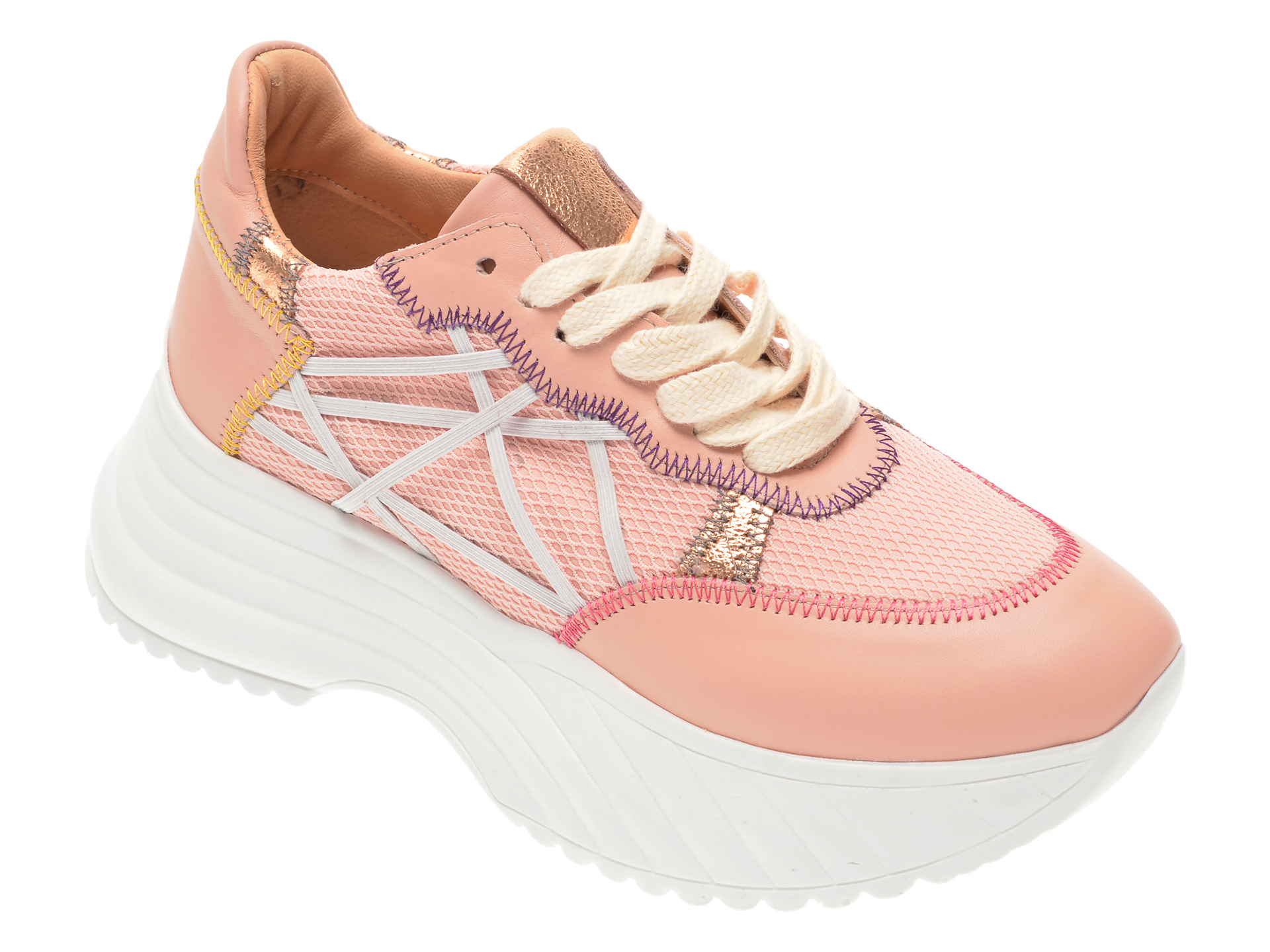 Pantofi sport FLAVIA PASSINI roz, 135P97, din material textil si piele naturala imagine