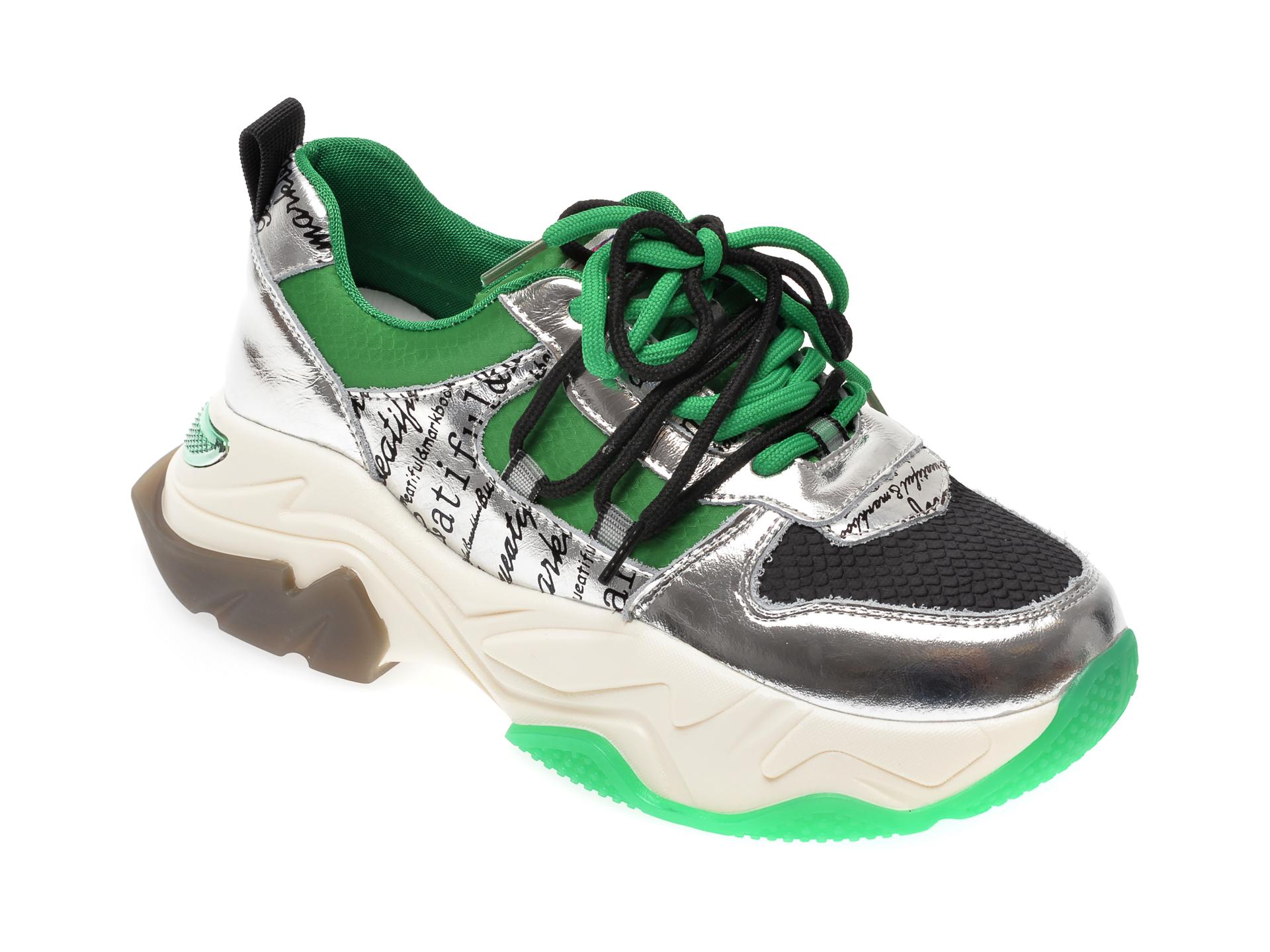 Pantofi sport FLAVIA PASSINI verzi, L1107, din material textil si piele naturala imagine