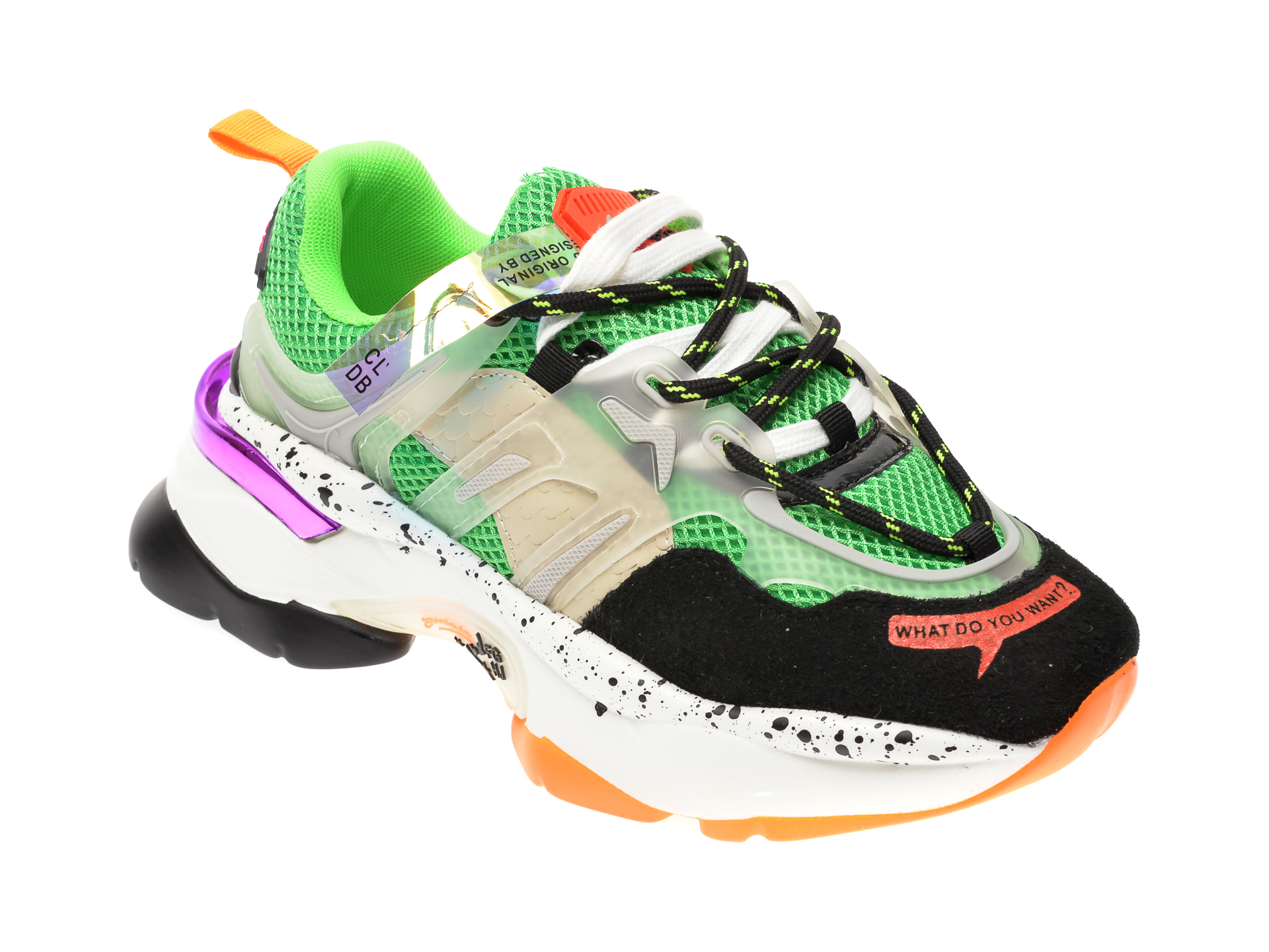 Pantofi sport FLAVIA PASSINI verzi, L99189, din material textil si piele naturala New