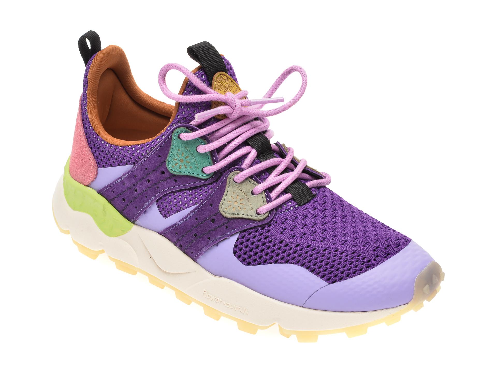 Pantofi sport FLOWER MOUNTAIN mov, 2014761, din material textil si piele naturala