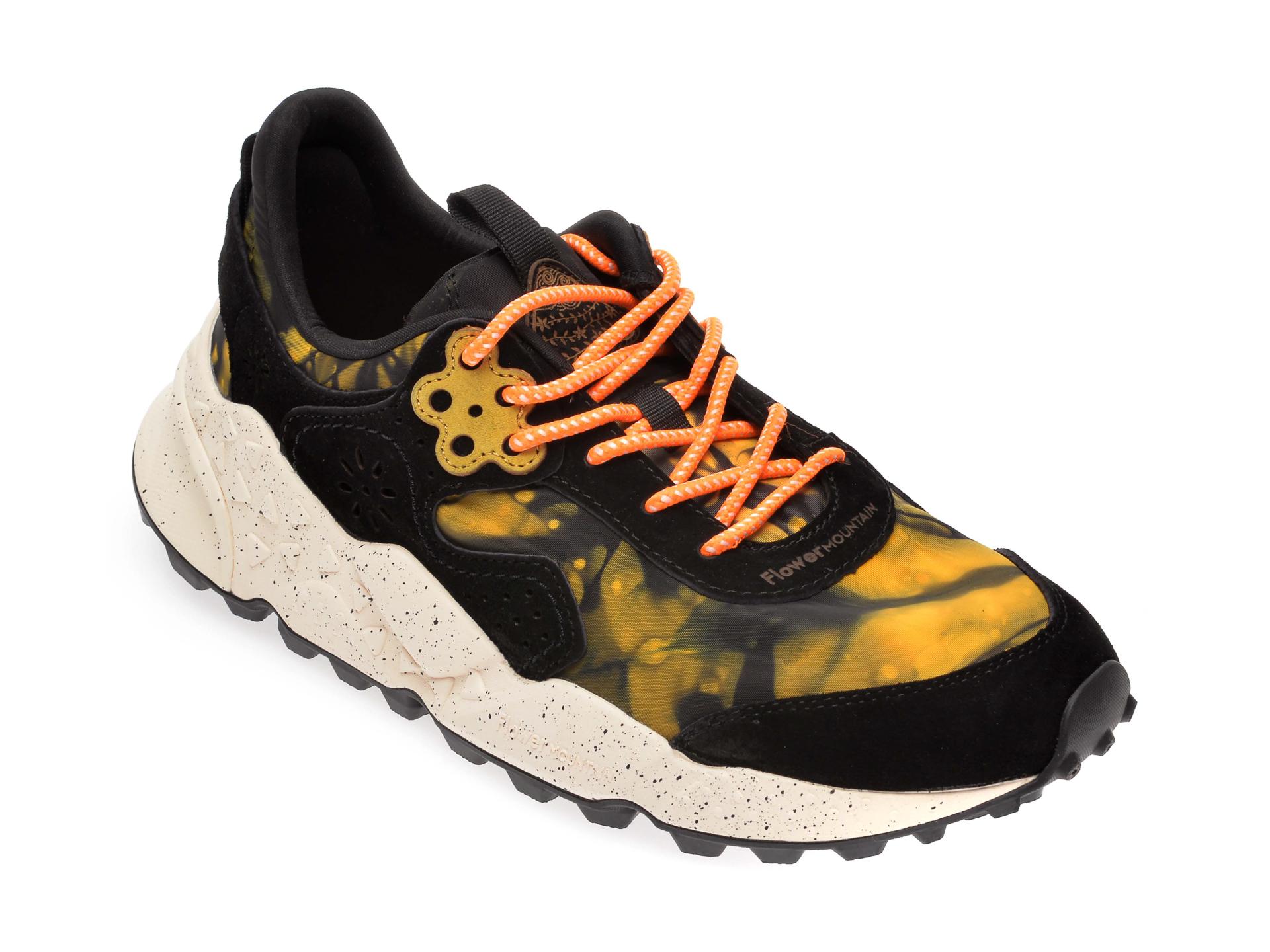 Pantofi sport FLOWER MOUNTAIN negri, 2014764, din material textil si piele intoarsa imagine