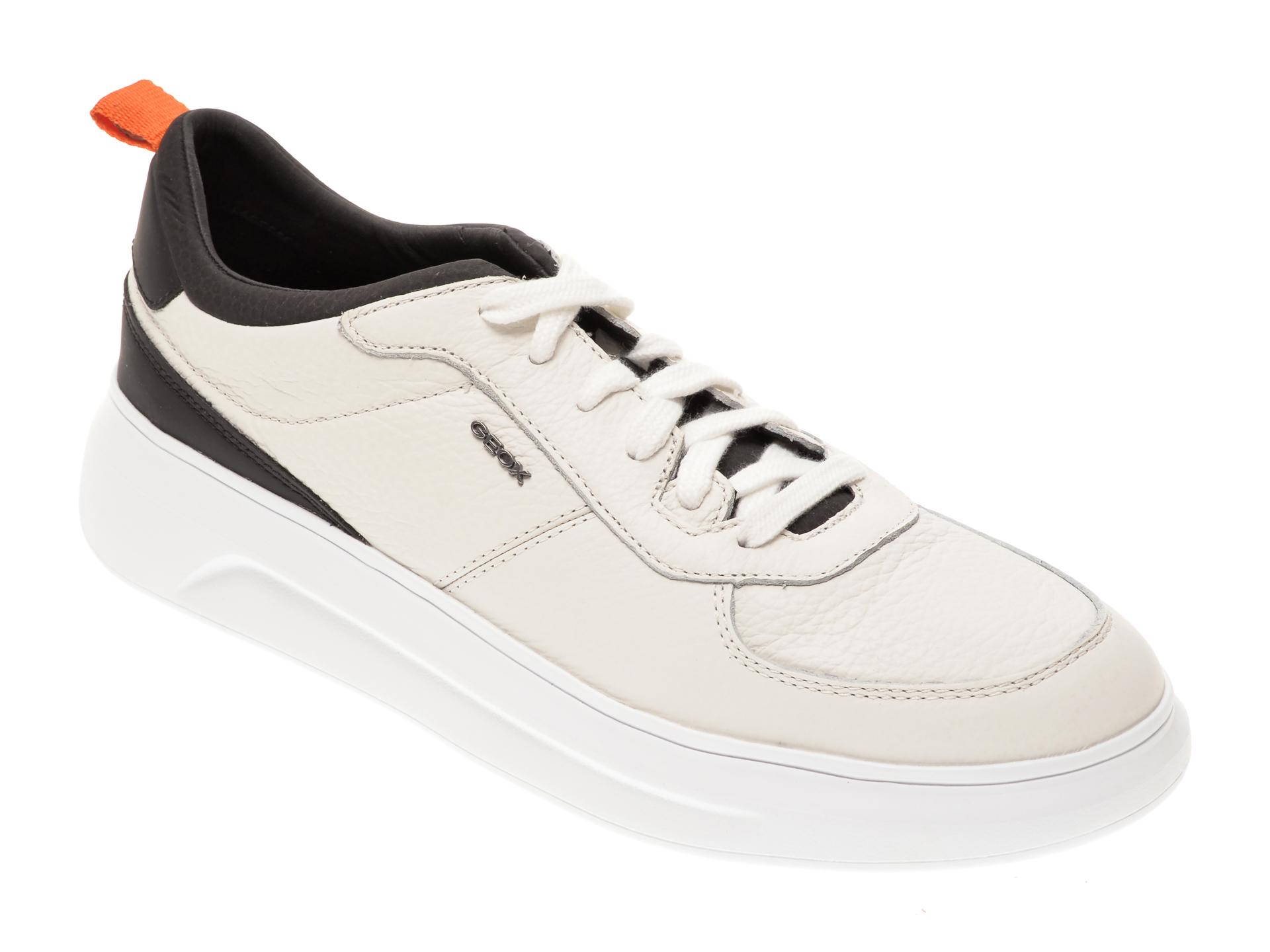 Pantofi sport GEOX alb-negru, U04ATE, din piele naturala imagine