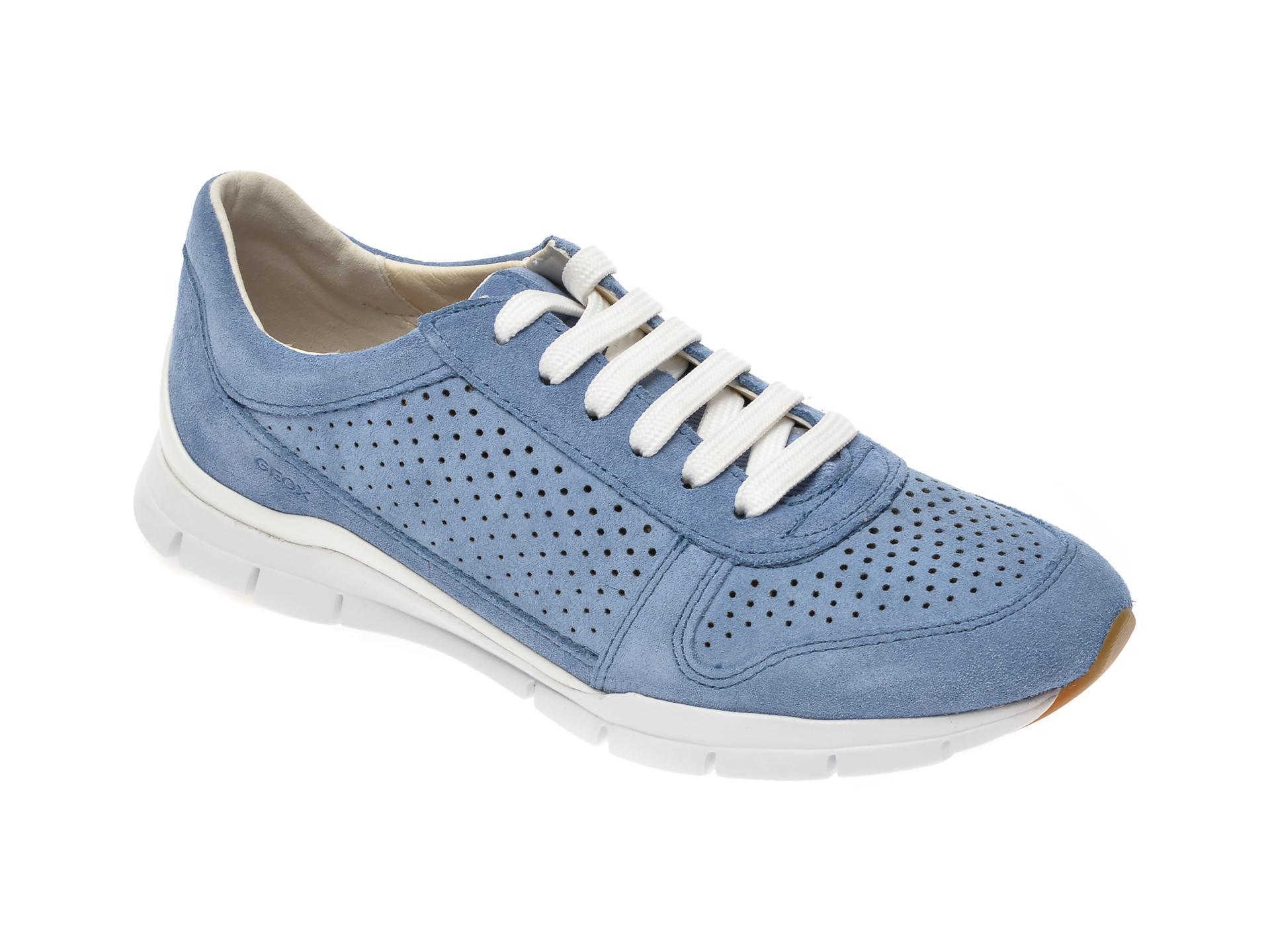 Pantofi sport GEOX albastri, D02F2B, din piele intoarsa