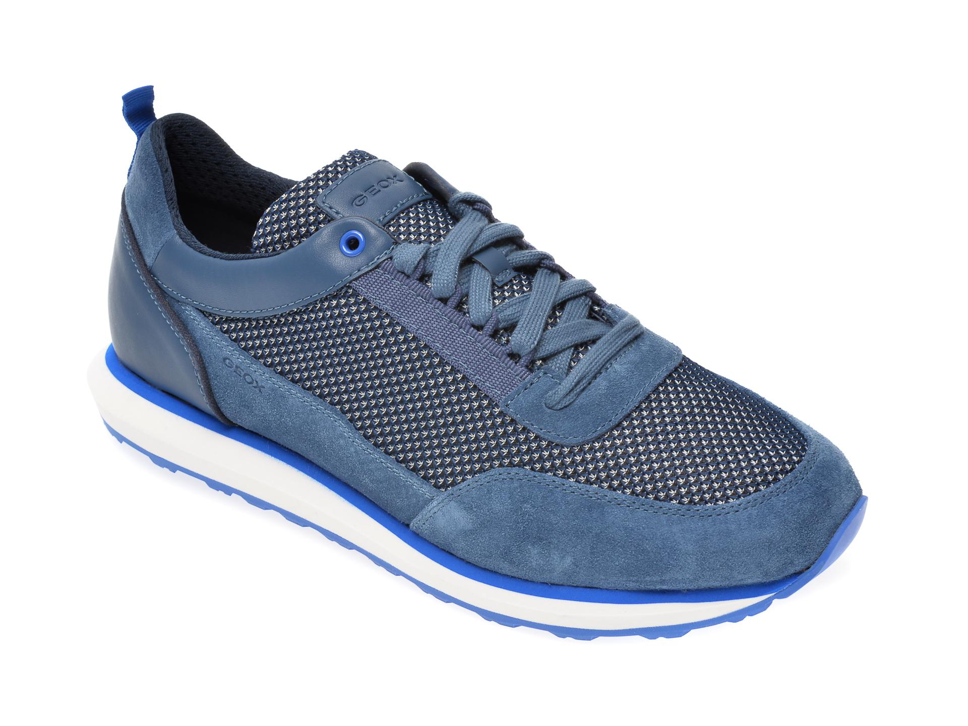 Pantofi sport GEOX albastri, U029WC, din material textil si piele naturala New