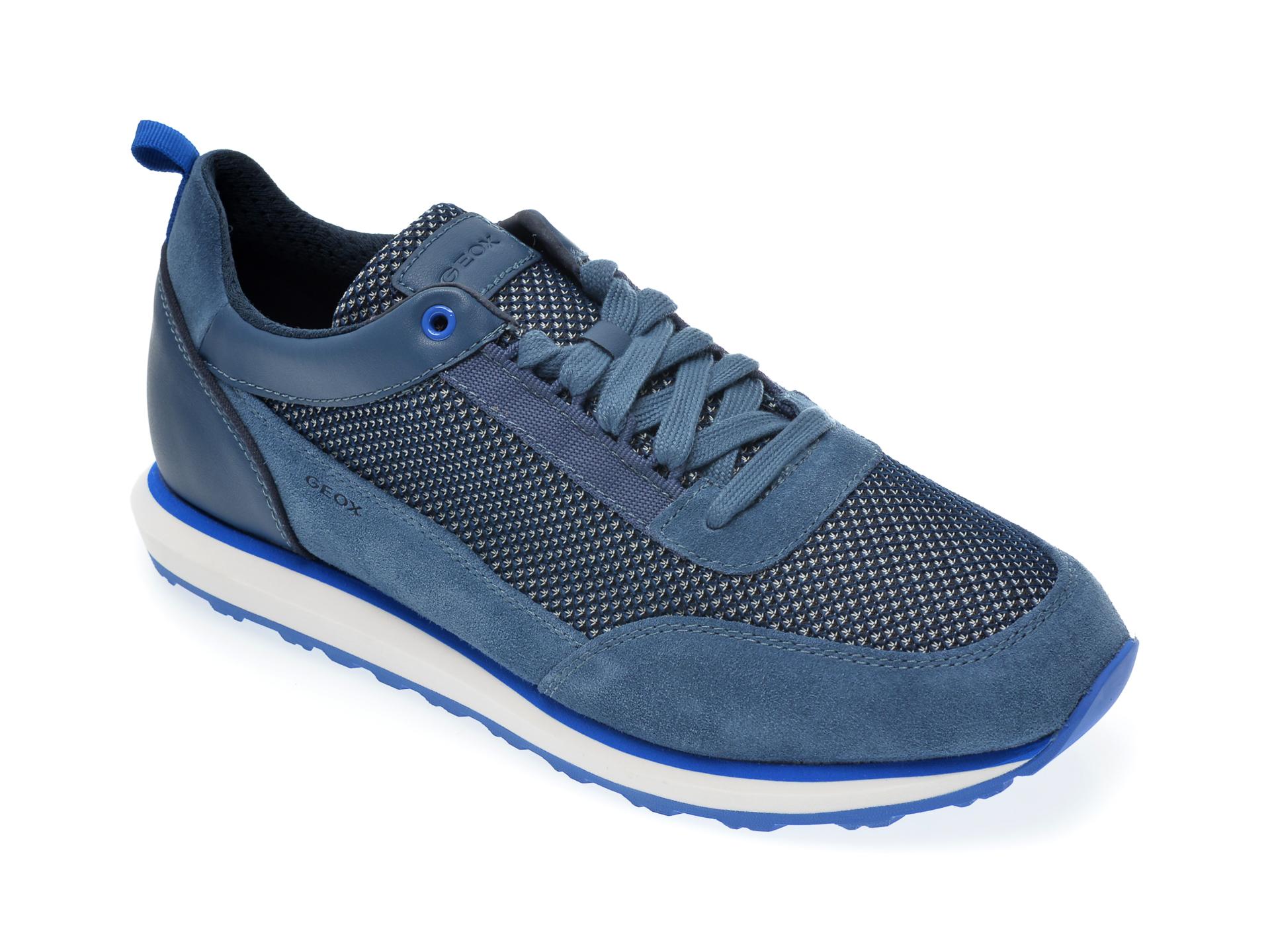 Pantofi sport GEOX albastri, U029WC, din material textil si piele naturala imagine