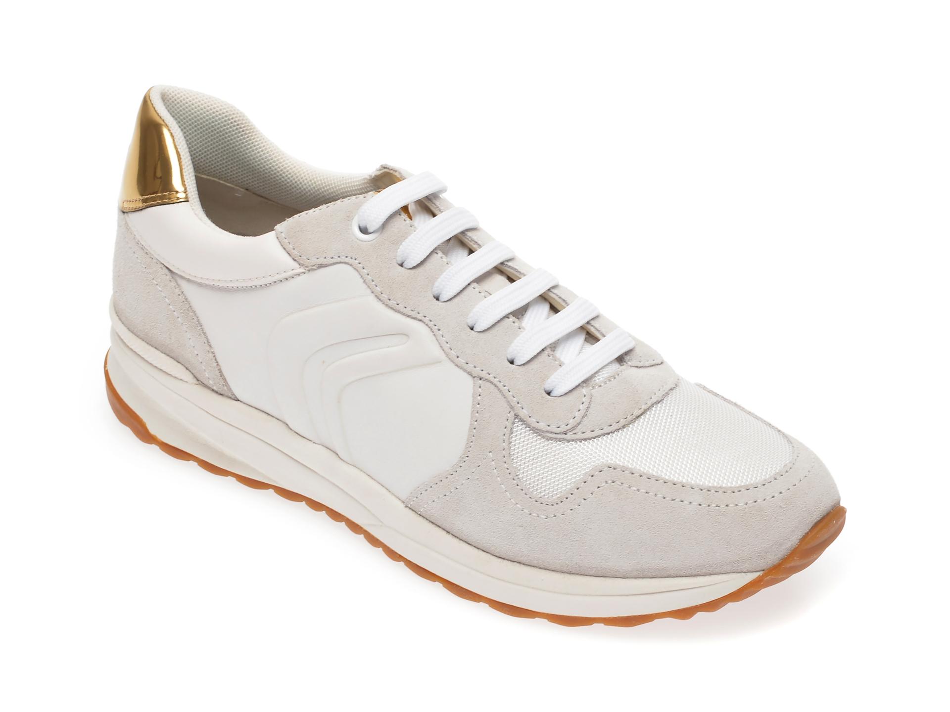 Pantofi sport GEOX albi, D022SC, din material textil si piele naturala