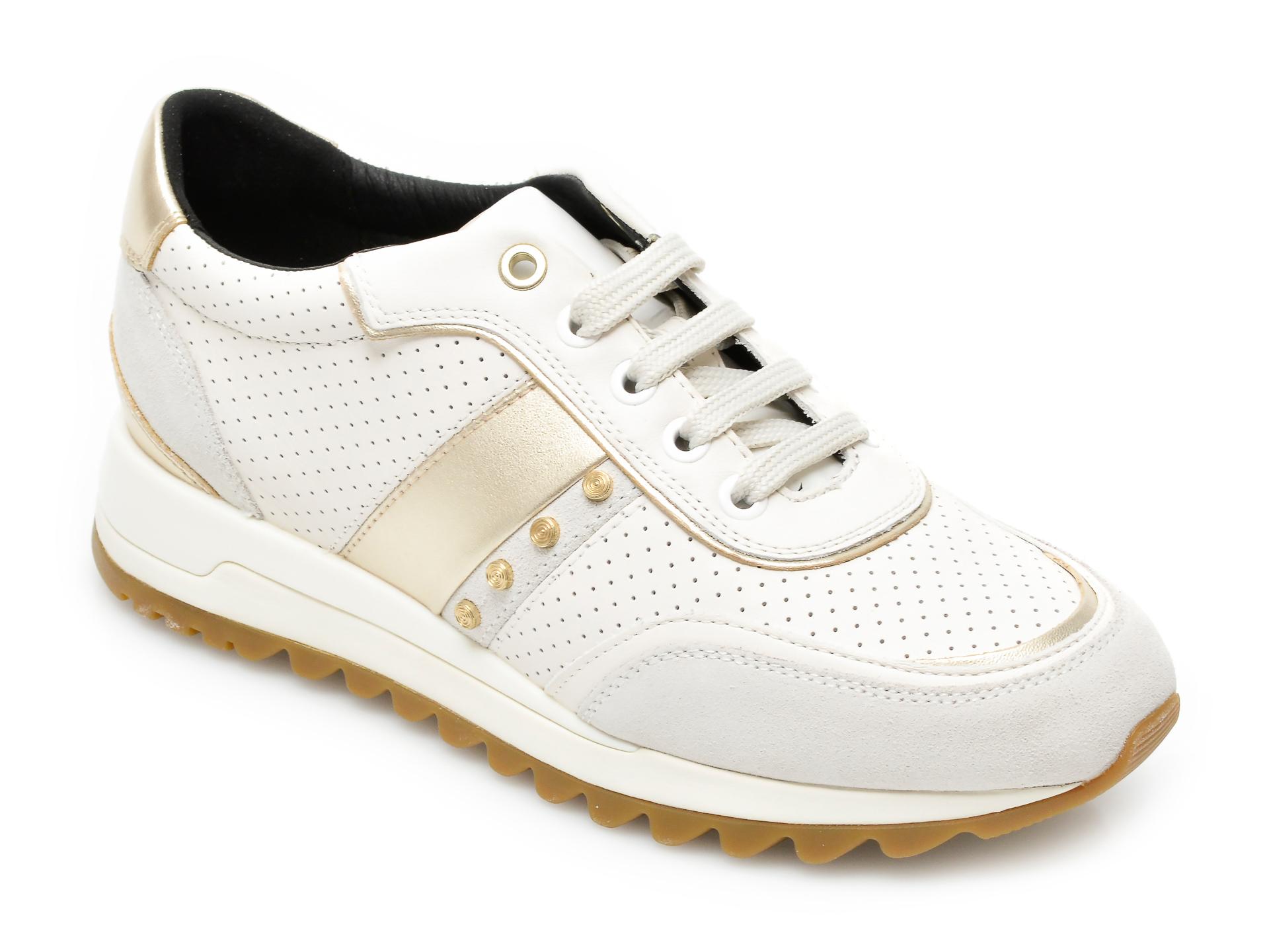 Pantofi sport GEOX albi, D02AQA, din piele ecologica