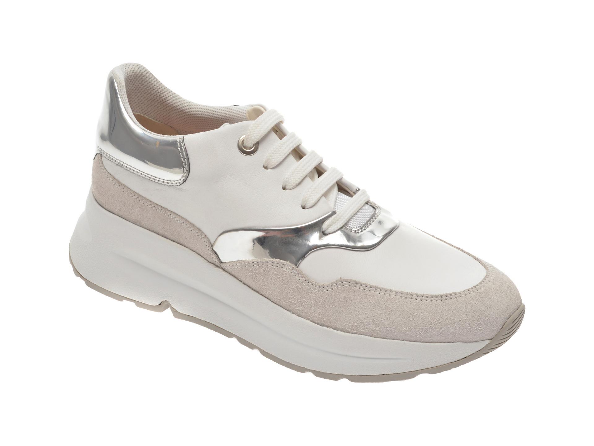 Pantofi sport GEOX albi, D02FLC, din piele naturala