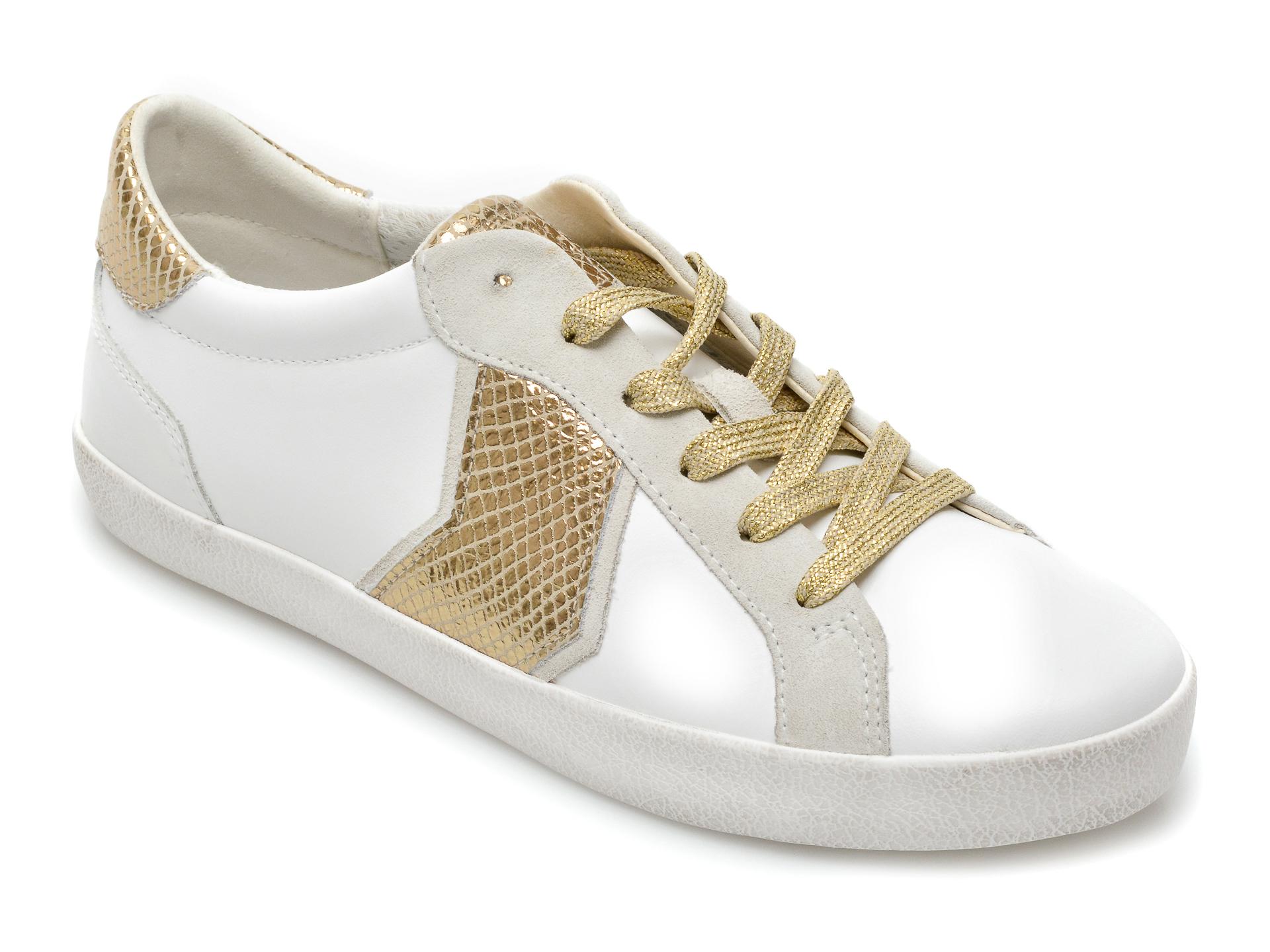 Pantofi sport GEOX albi, D15FBA, din piele naturala New