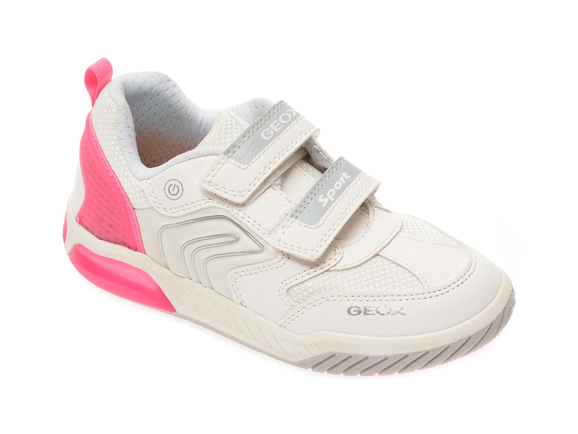 Pantofi sport GEOX albi, J02ASA, din material textil si piele ecologica New