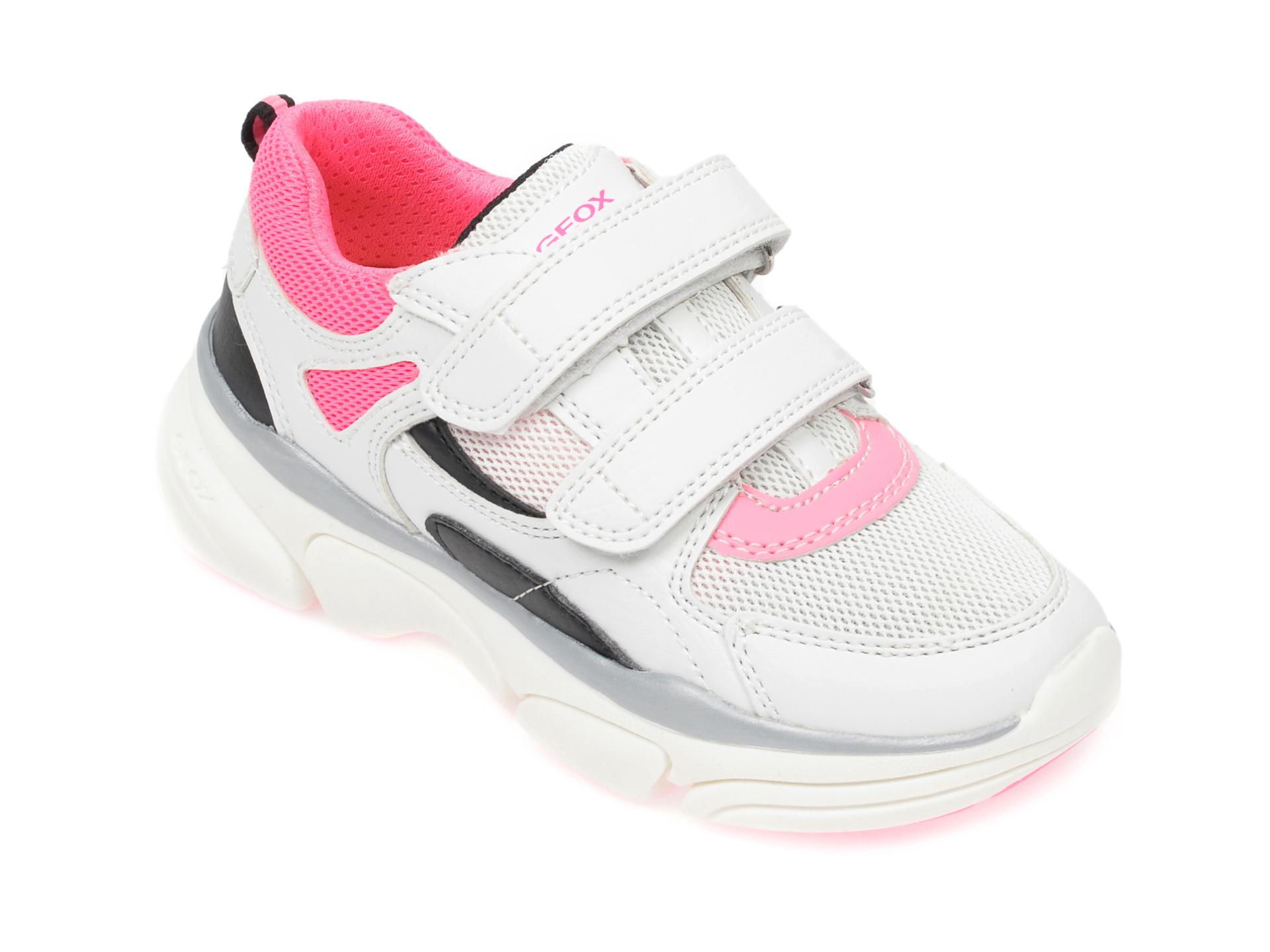Pantofi sport GEOX albi, J02BGE, din material textil si piele ecologica New