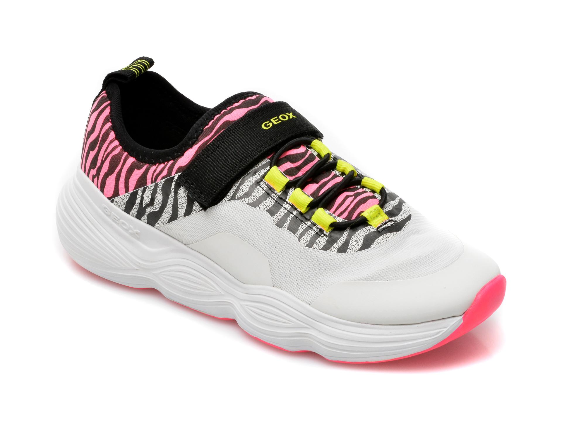 Pantofi sport GEOX albi, J15CNA, din piele ecologica
