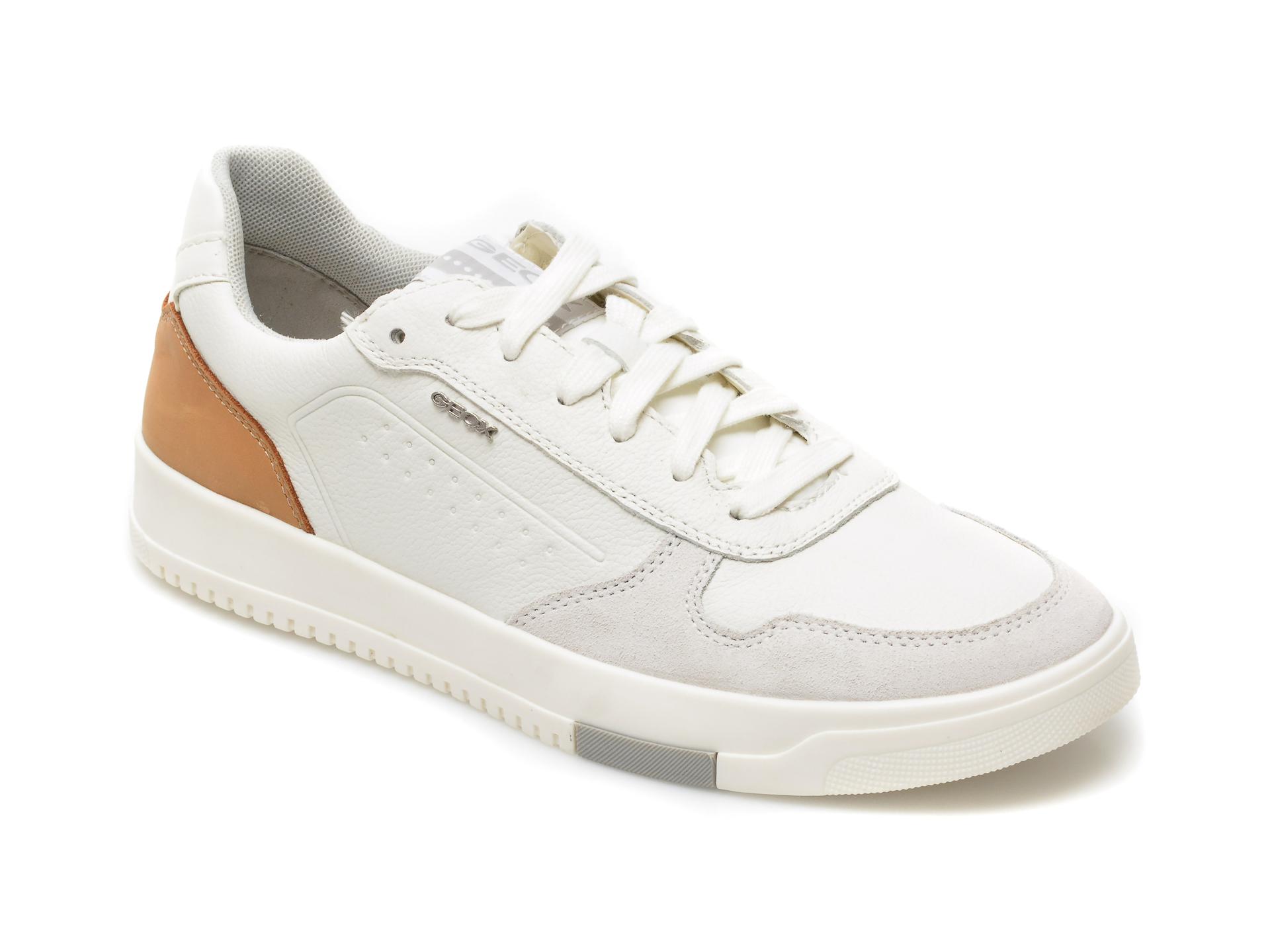 Pantofi sport GEOX albi, U15AGB, din piele naturala imagine