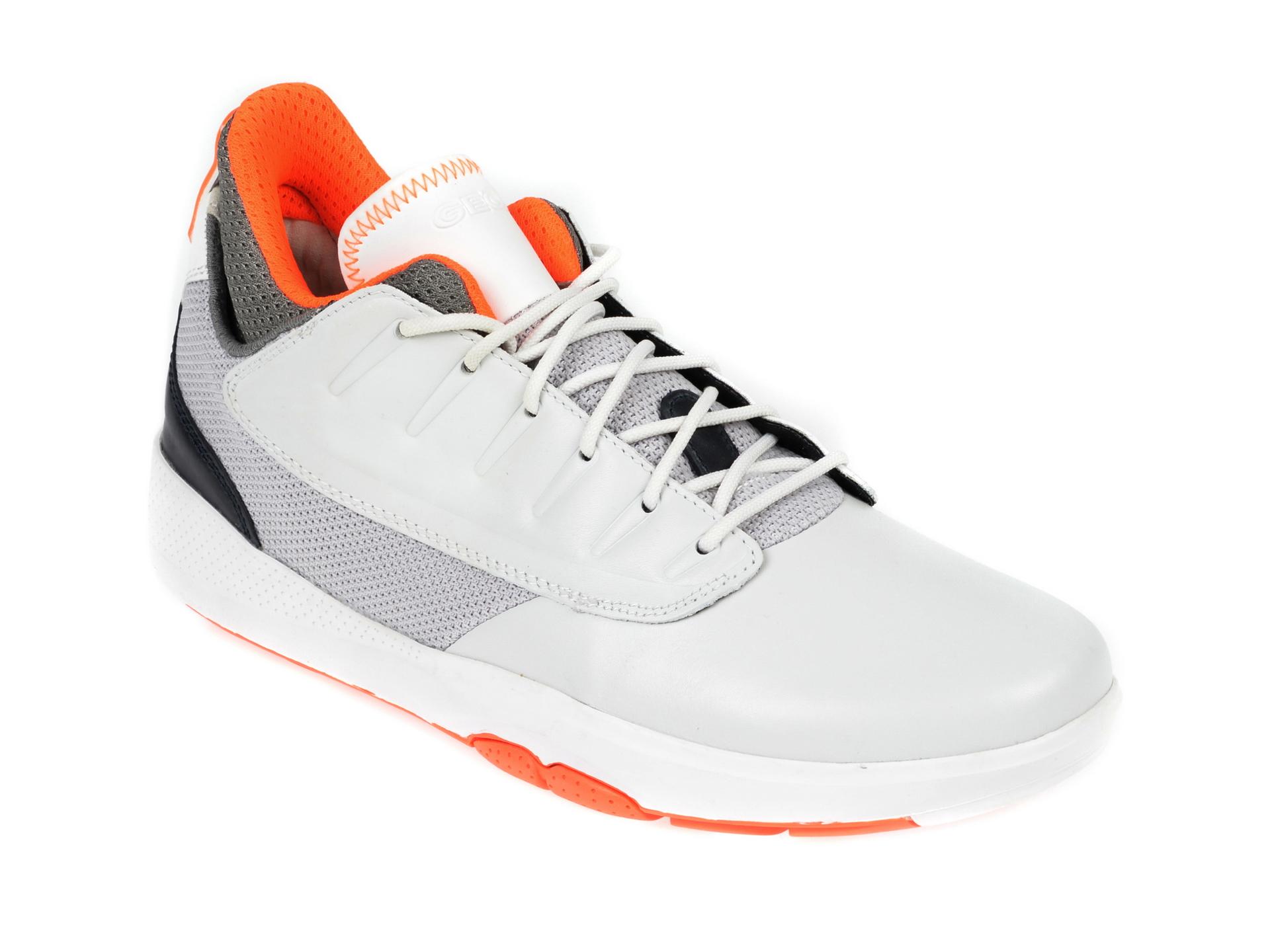 Pantofi sport GEOX albi, U948LA, din piele naturala
