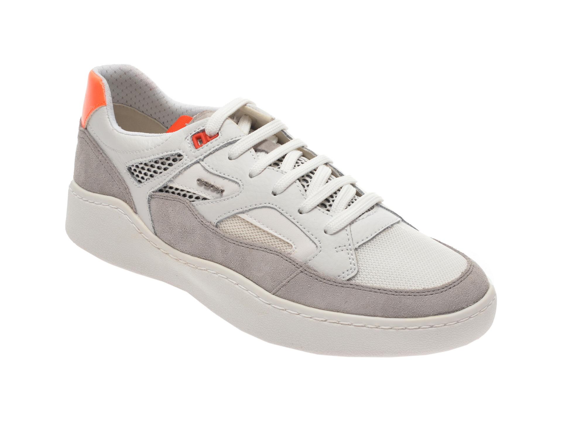 Pantofi sport GEOX albii, U027XA, din material textil si piele naturala imagine