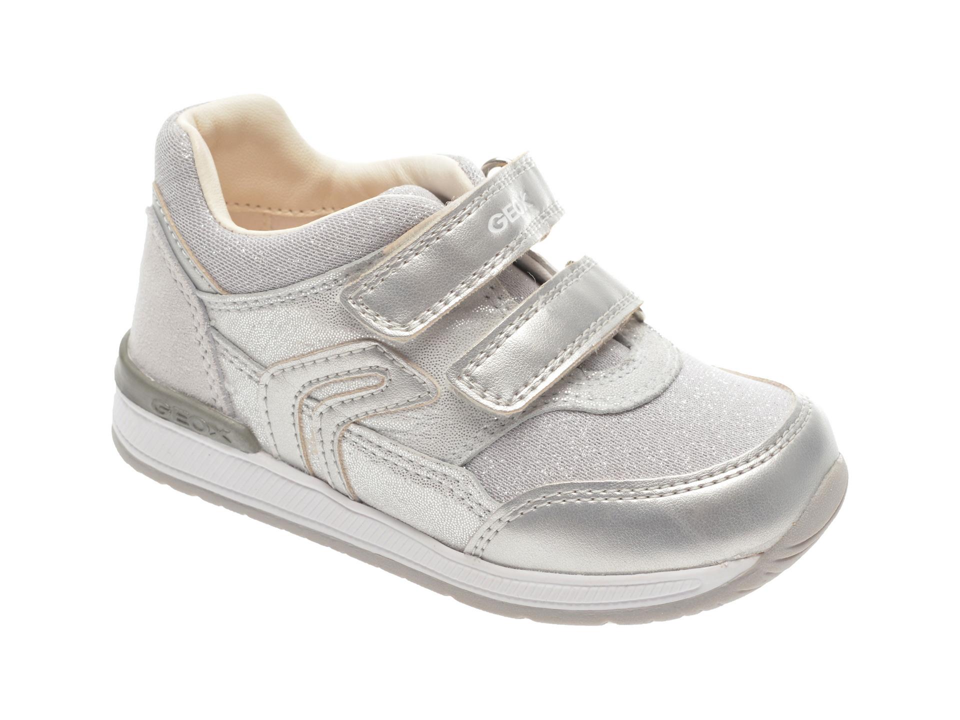 Pantofi sport GEOX argintii, B840LA, din material textil si piele naturala