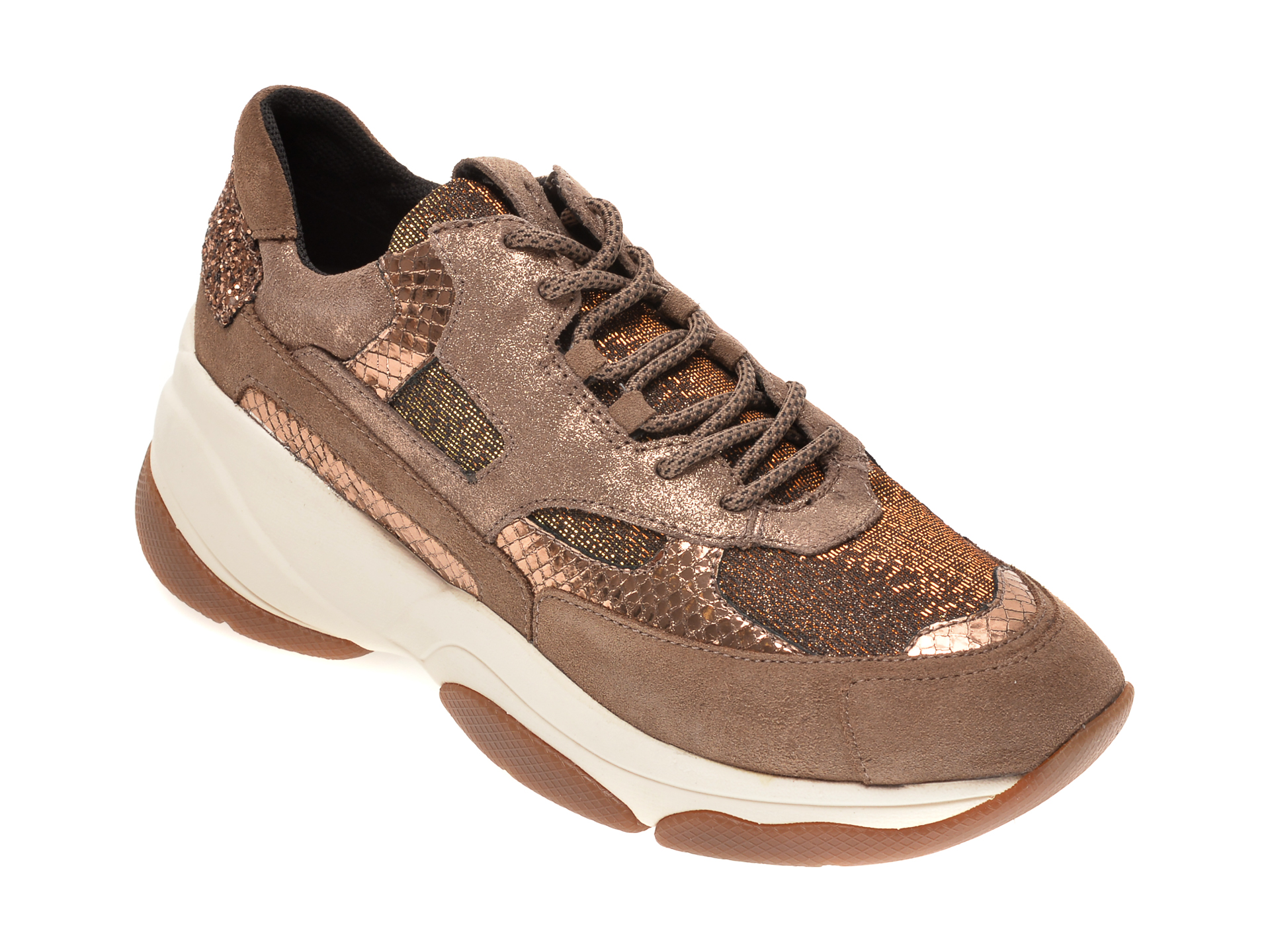 Pantofi sport GEOX aurii, D04BPA, din material textil si piele intoarsa imagine