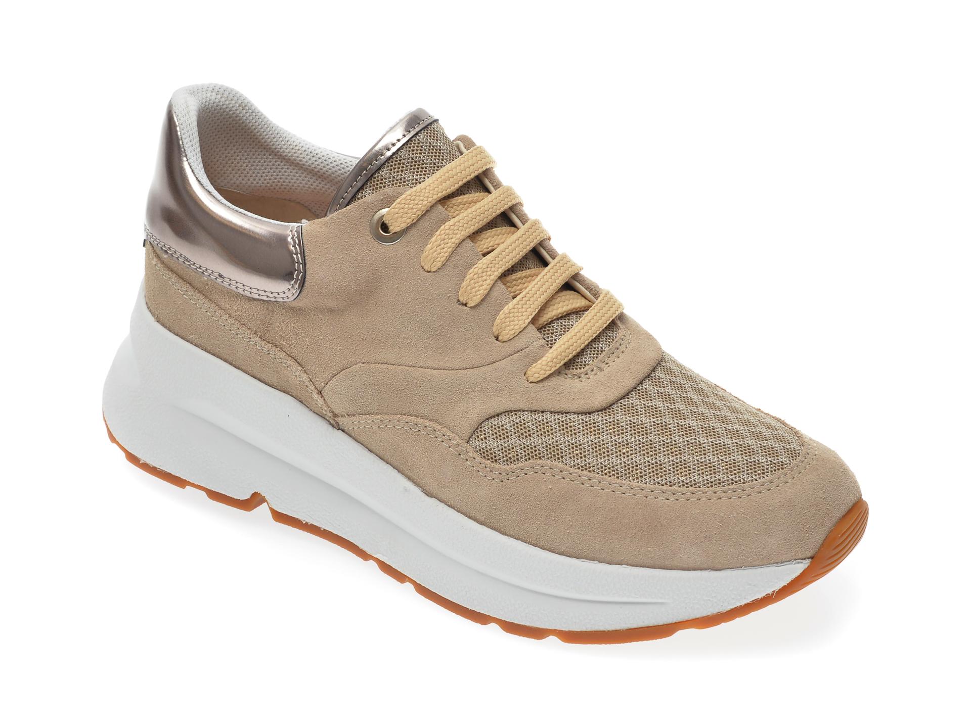 Pantofi sport GEOX bej, D02FLC, din material textil si piele intoarsa New
