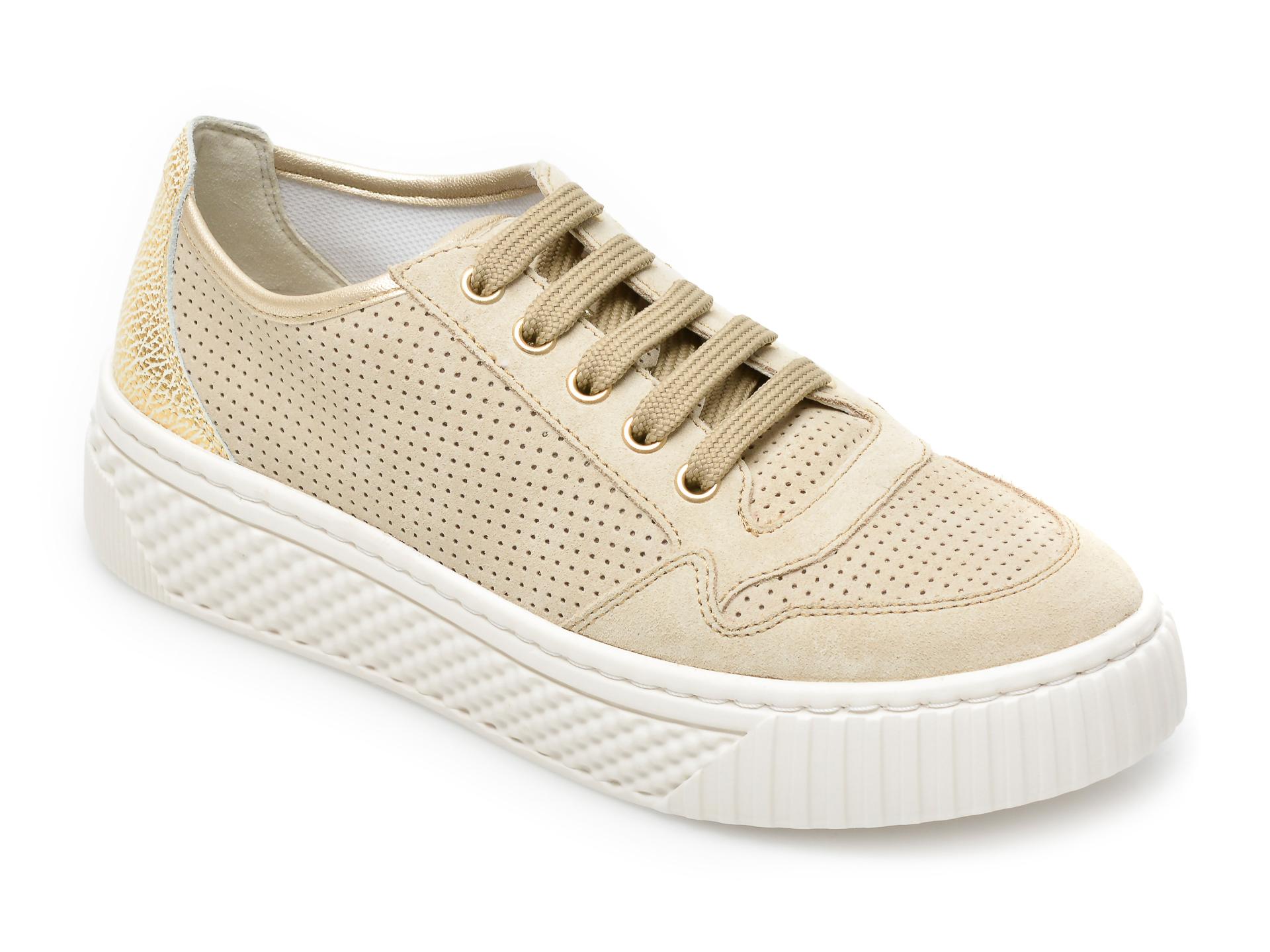 Pantofi sport GEOX bej, D15HSA, din piele intoarsa New
