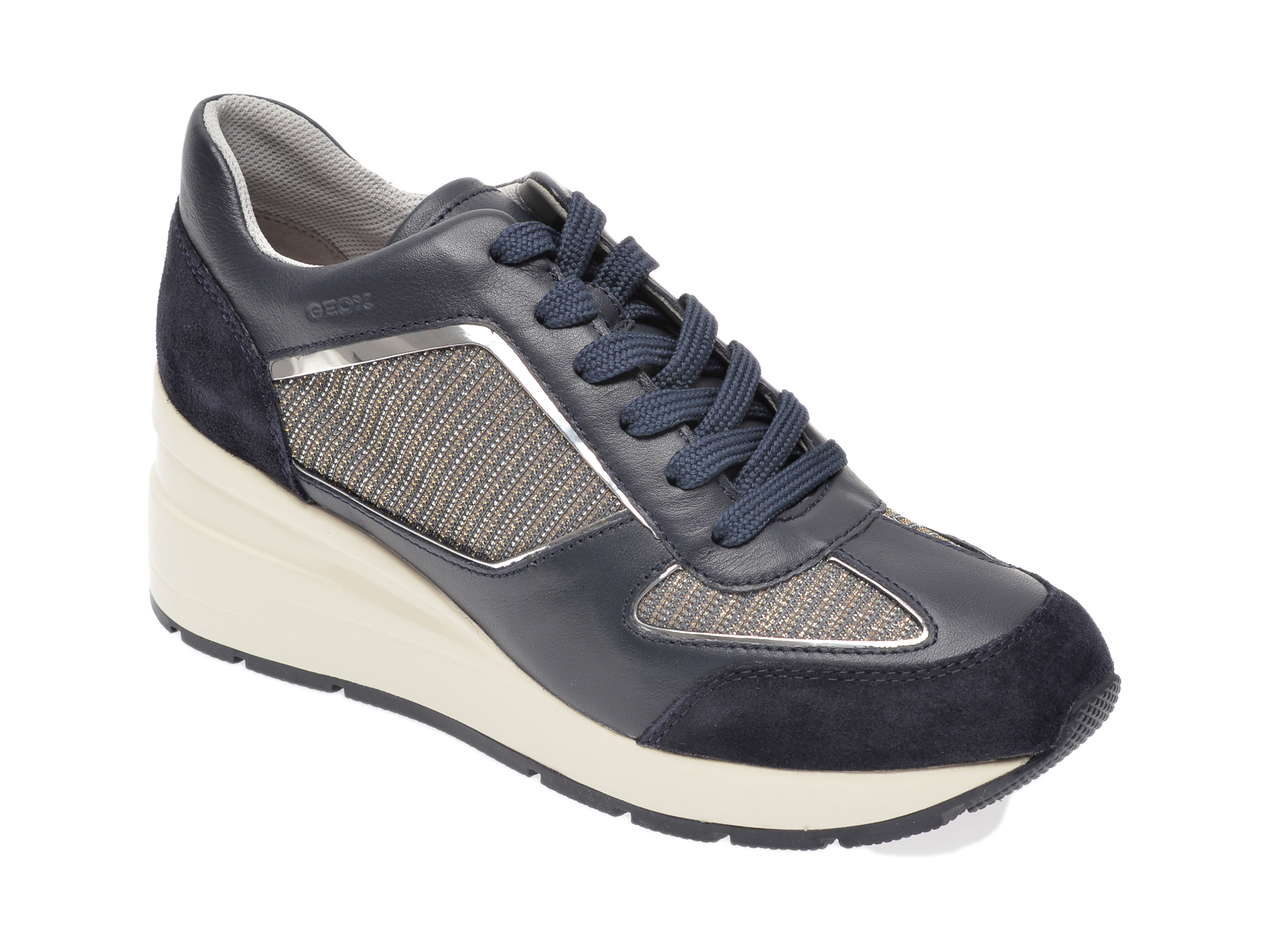 Pantofi sport GEOX bleumarin, D028LA, din material textil si piele naturala New