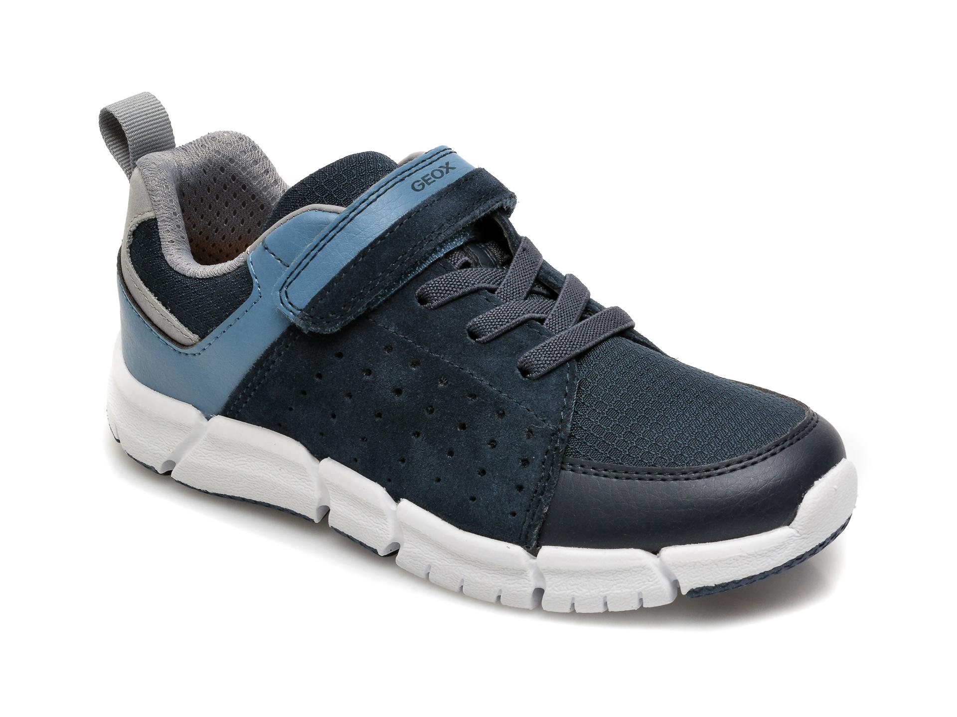 Pantofi sport GEOX bleumarin, J159BD, din material textil si piele intoarsa