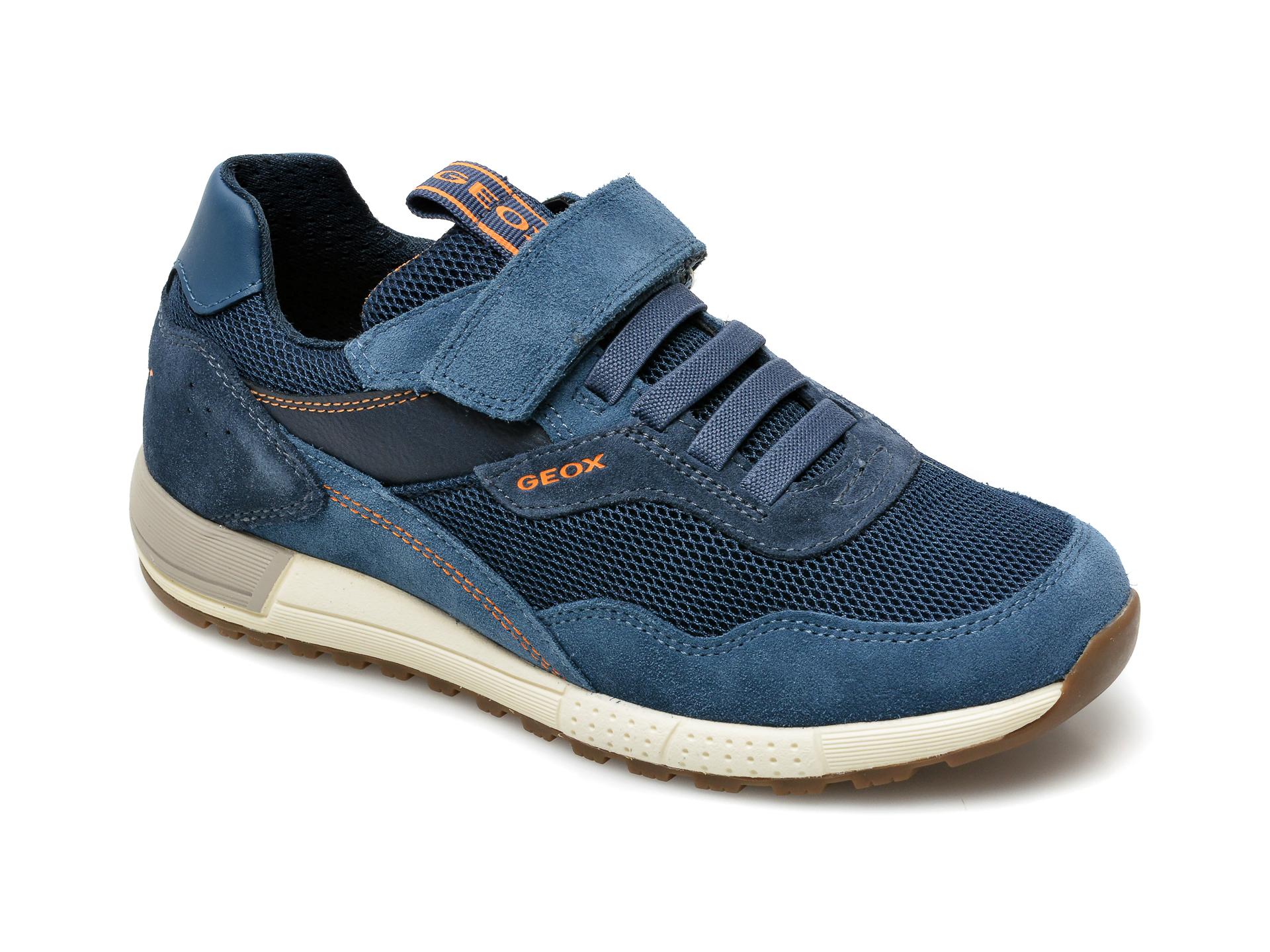 Pantofi sport GEOX bleumarin, J159EB, din material textil si piele intoarsa imagine otter.ro