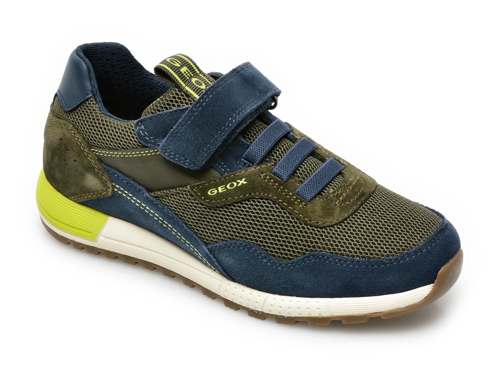 Pantofi sport GEOX bleumarin, J159EB, din material textil si piele intoarsa