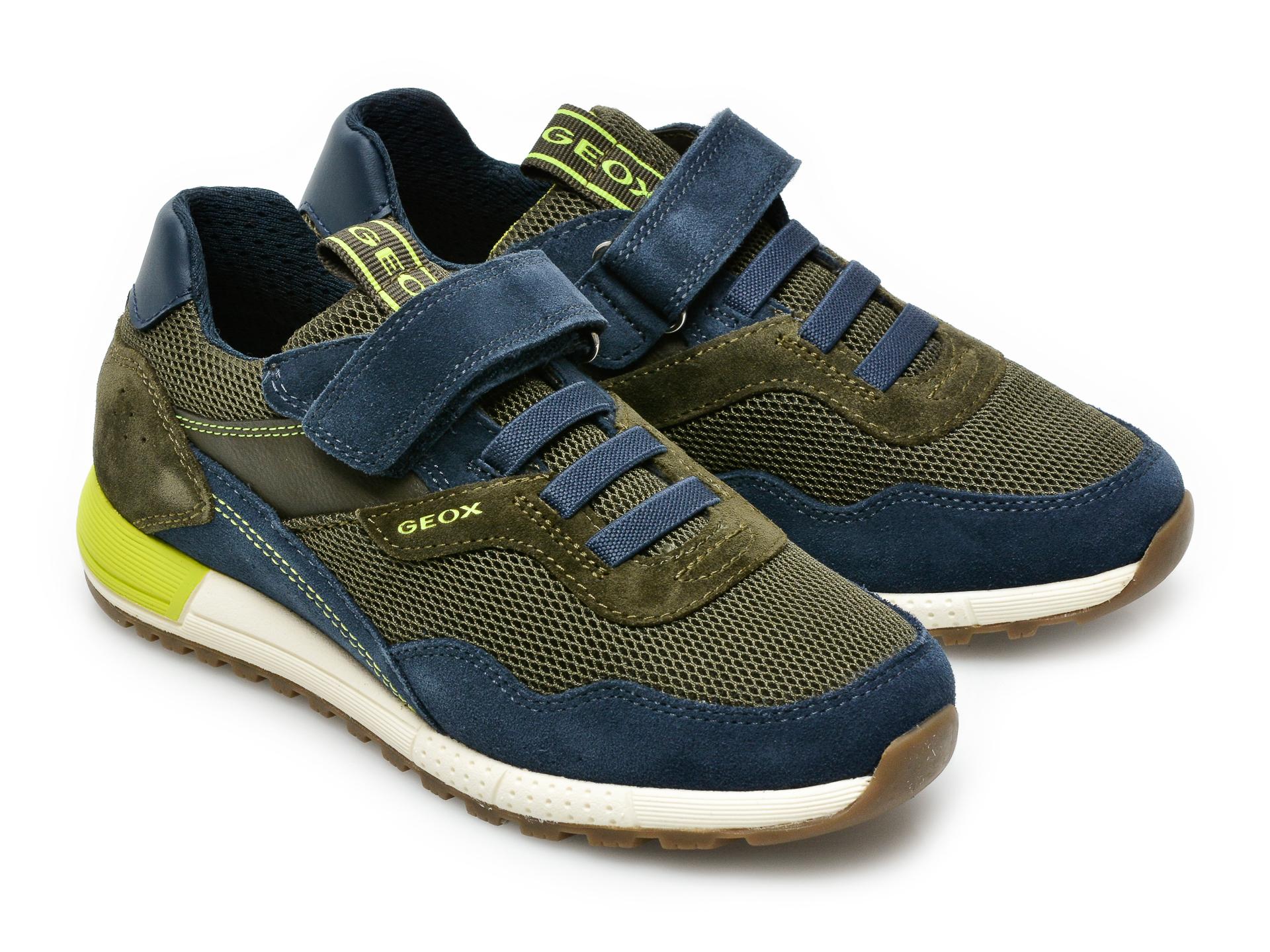 Pantofi sport GEOX bleumarin, J159EB, din material textil si piele intoarsa - 4
