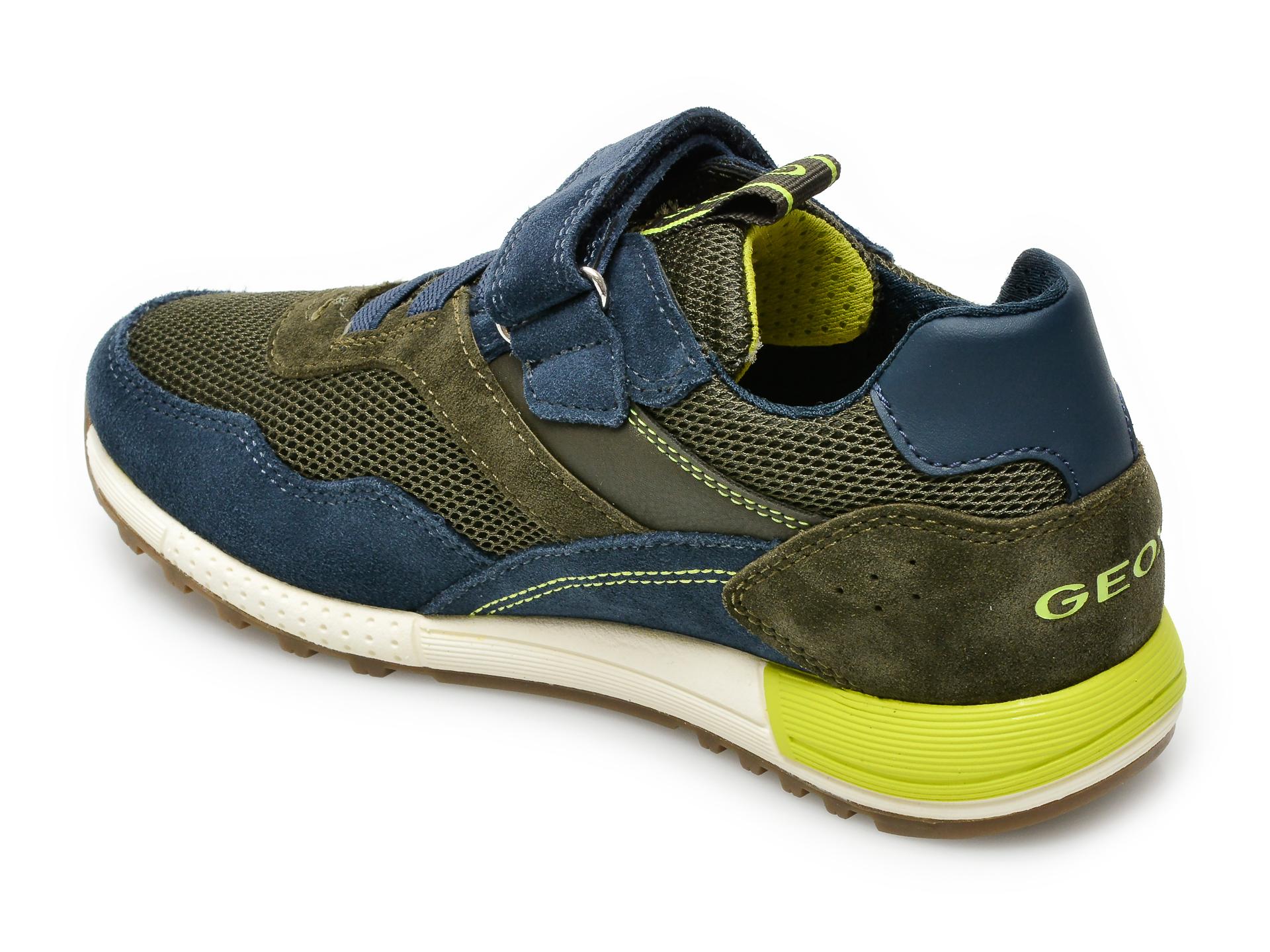 Pantofi sport GEOX bleumarin, J159EB, din material textil si piele intoarsa - 5