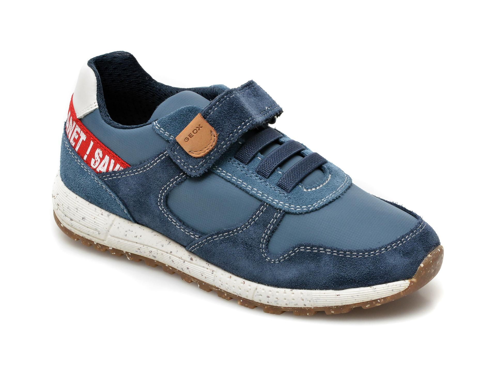 Pantofi sport GEOX bleumarin, J159ED, din material textil si piele intoarsa