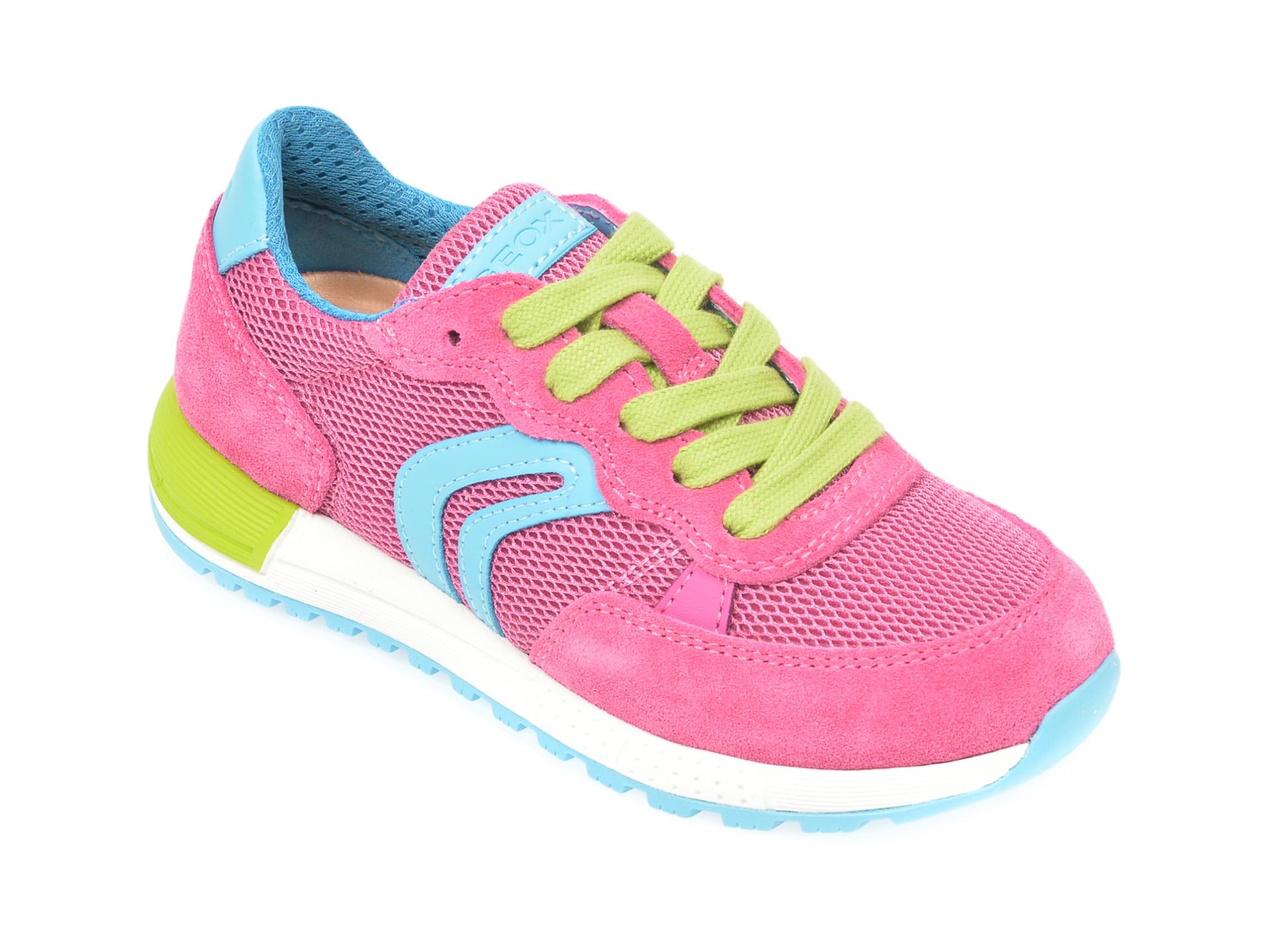 Pantofi sport GEOX fucsia, J02AQB, din material textil si piele naturala New