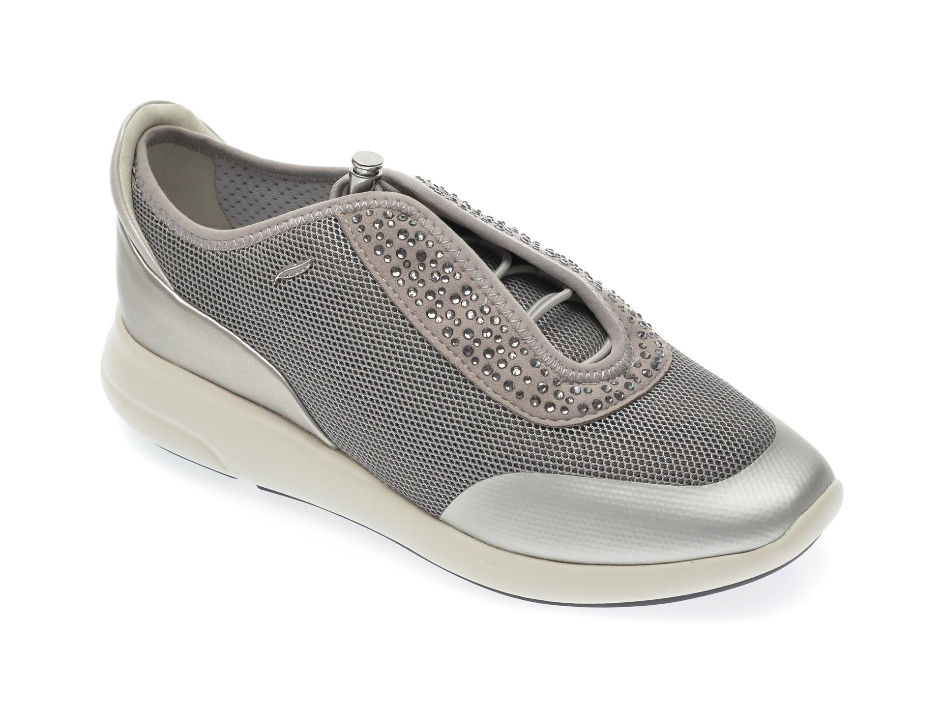 Pantofi sport GEOX gri, D621CE, din material textil si piele ecologica New