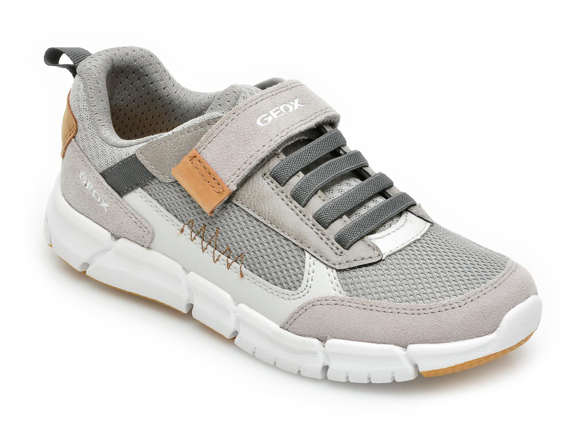 Pantofi sport GEOX gri, J159BB, din material textil si piele naturala