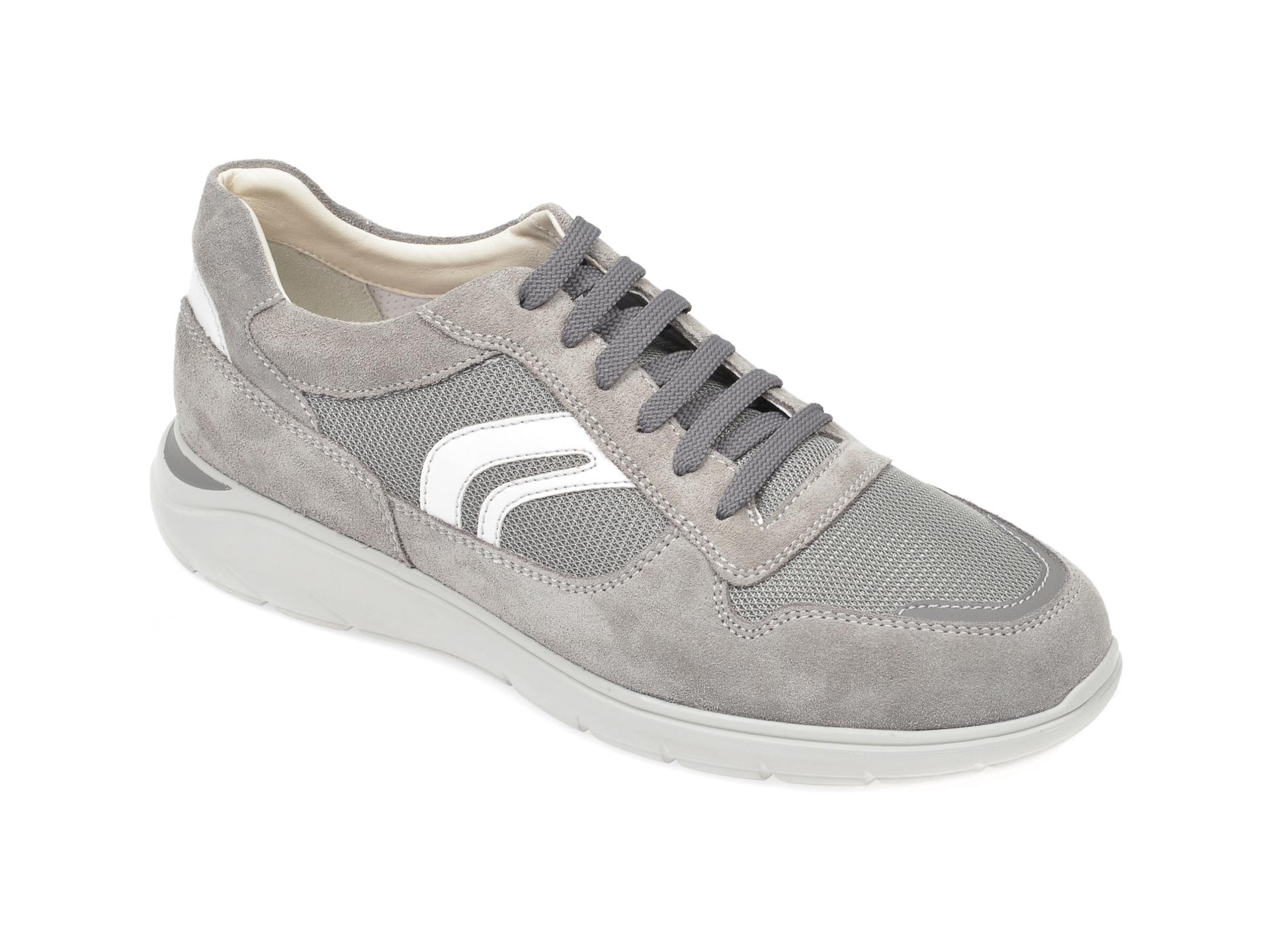 Pantofi sport GEOX gri, U029DC, din material textil si piele naturala imagine