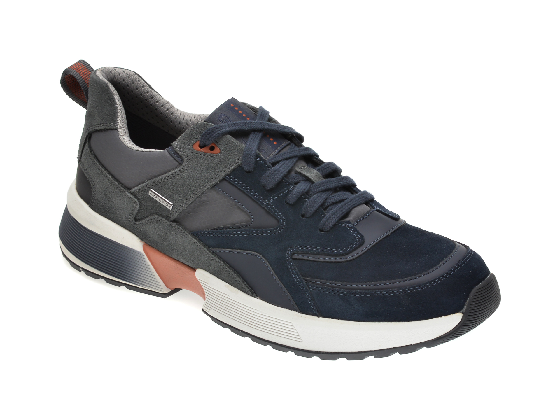 Pantofi Sport Geox Gri, U04aua, Din Piele Intoarsa