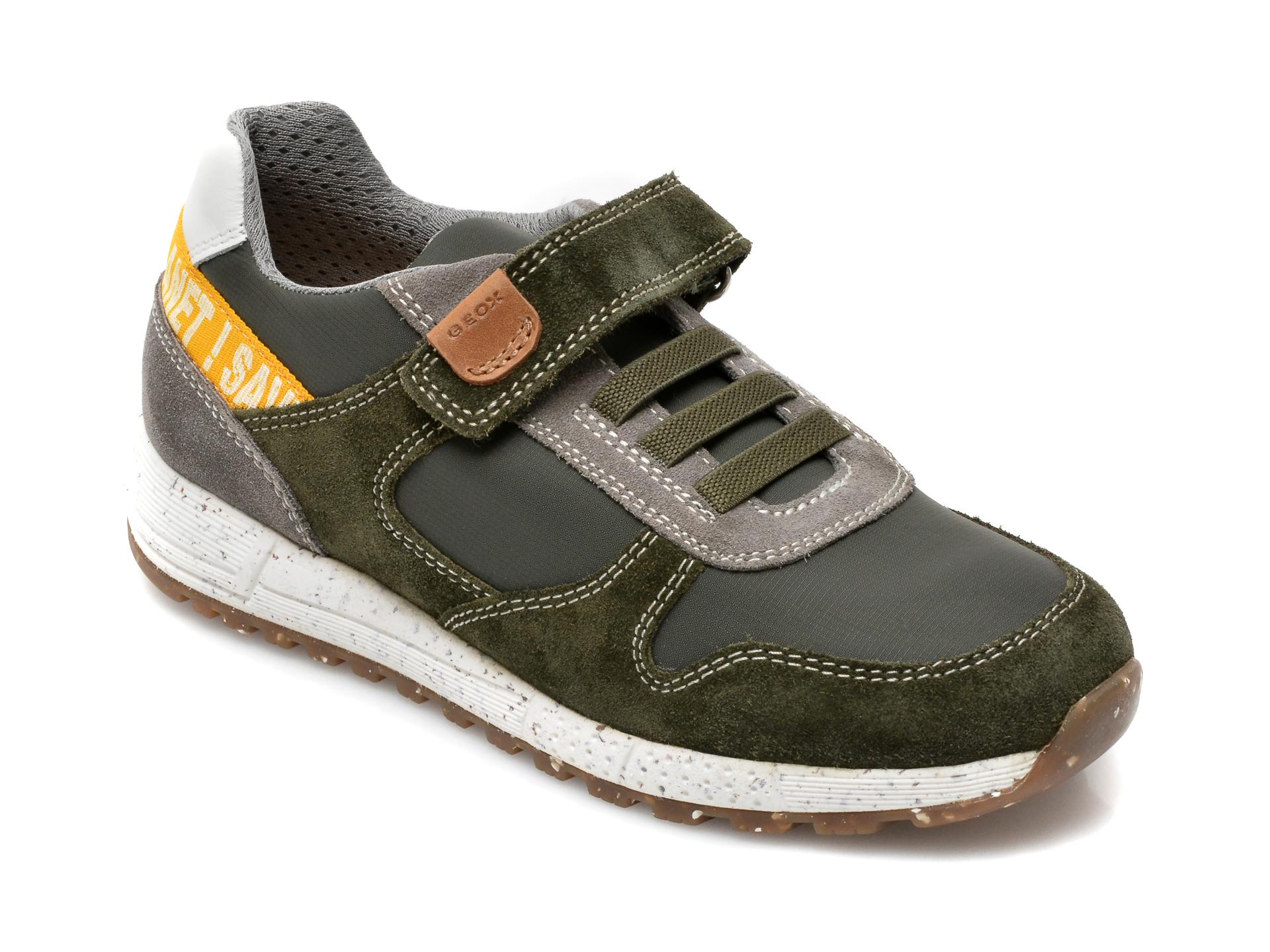Pantofi sport GEOX kaki, J159ED, din material textil si piele naturala