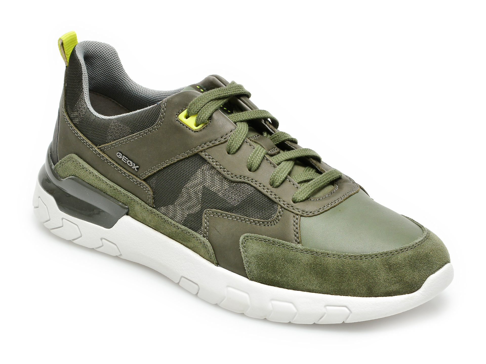 Pantofi sport GEOX kaki, U158ZC, din material textil si piele naturala imagine