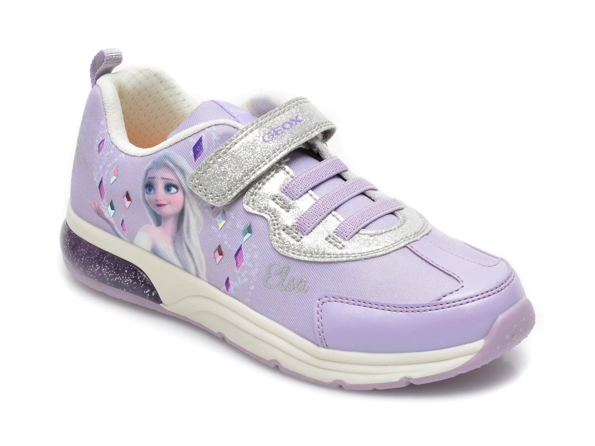 Pantofi sport GEOX mov, J158VB, din material textil si piele ecologica