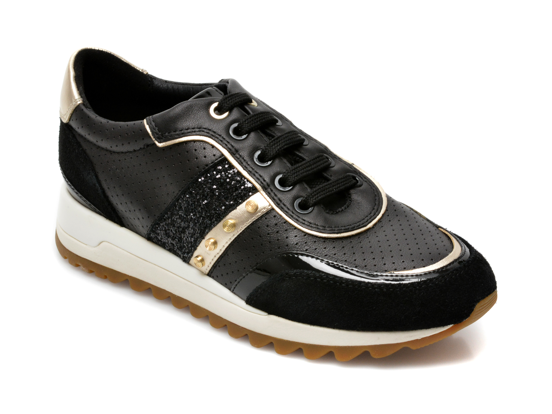 Pantofi sport GEOX negri, D04LYA, din material textil si piele naturala