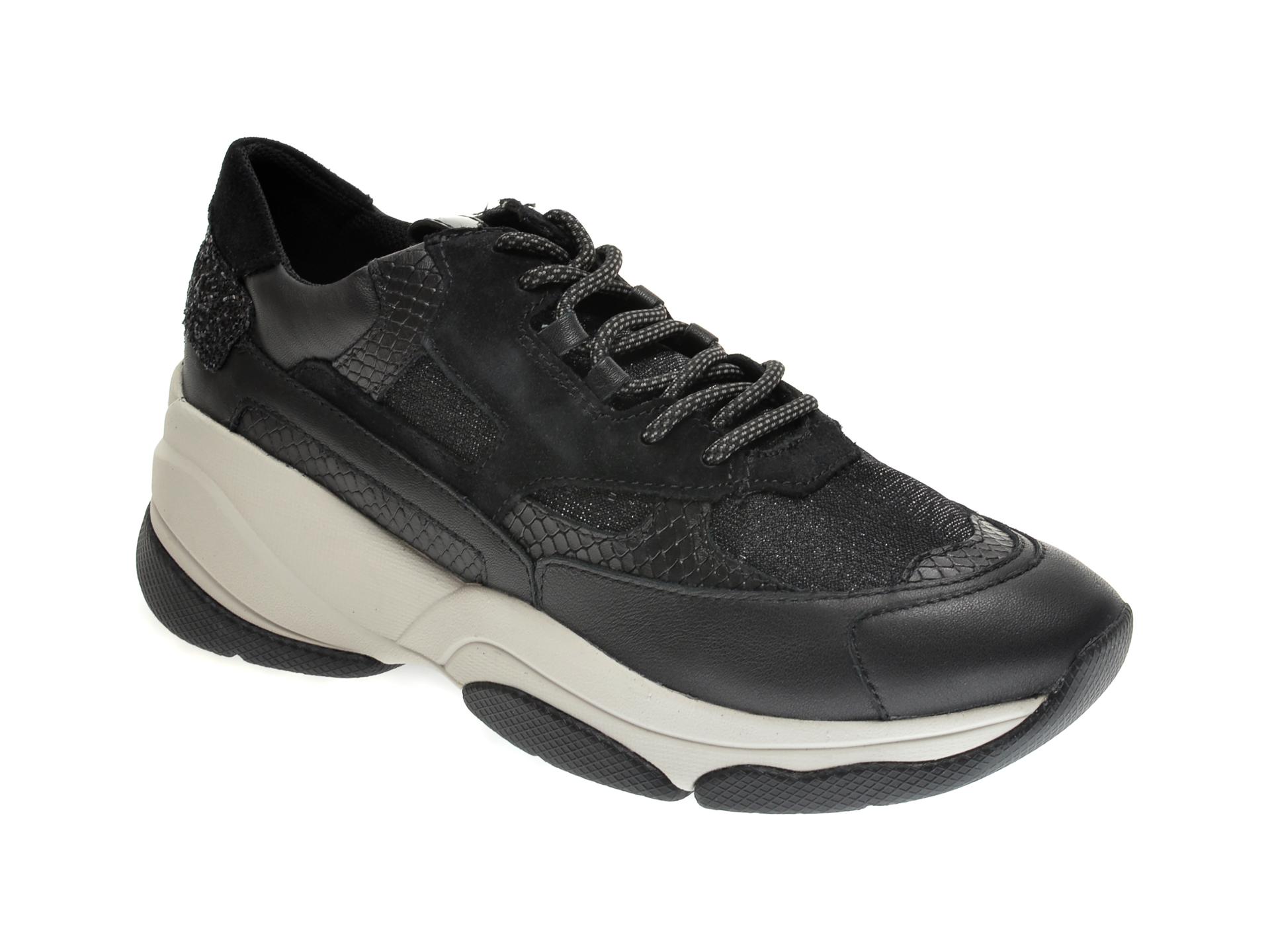 Pantofi sport GEOX negri, D04BPA, din material textil si piele naturala