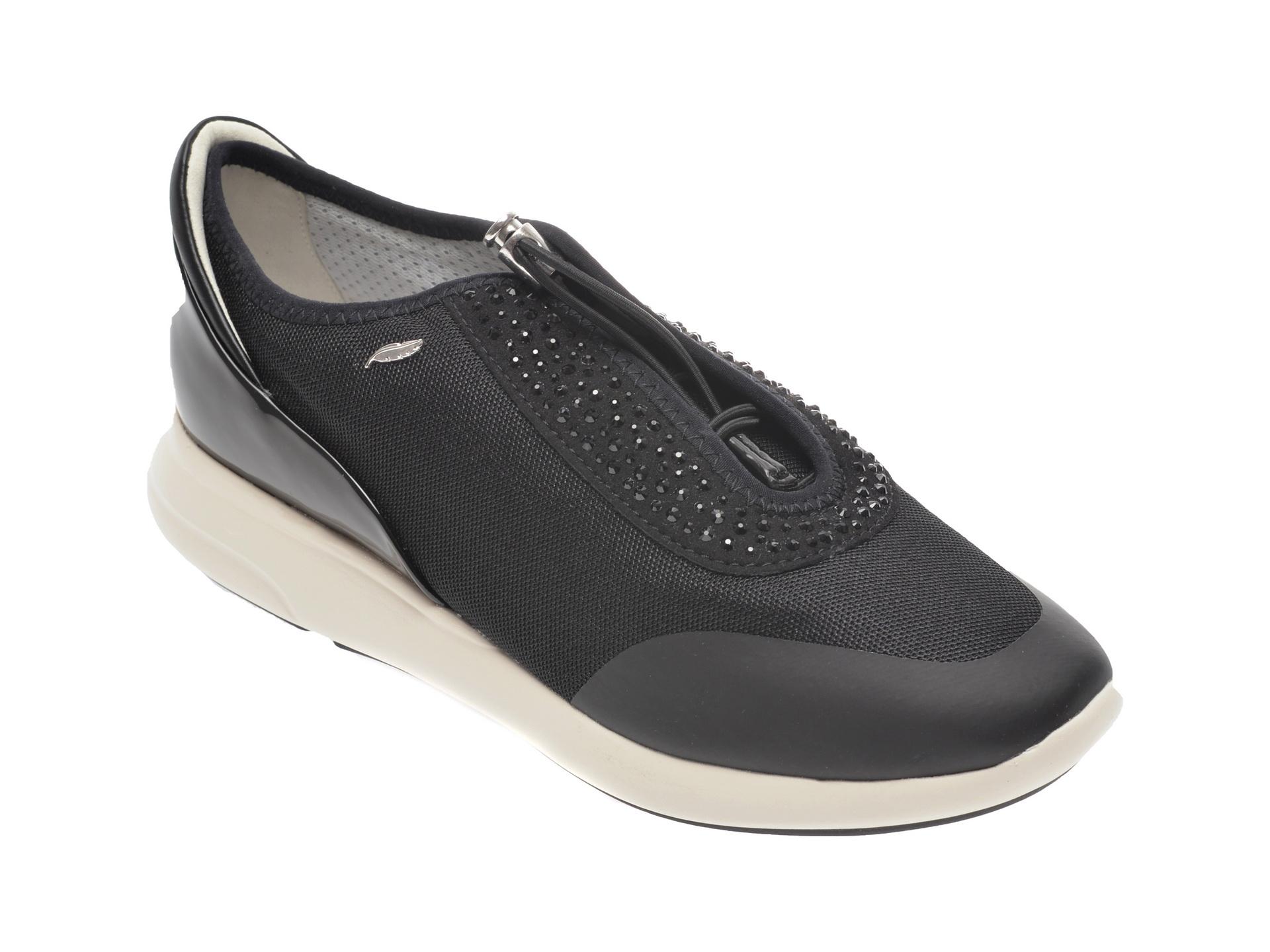 Pantofi sport GEOX negri, D621CE, din material textil si piele ecologica New