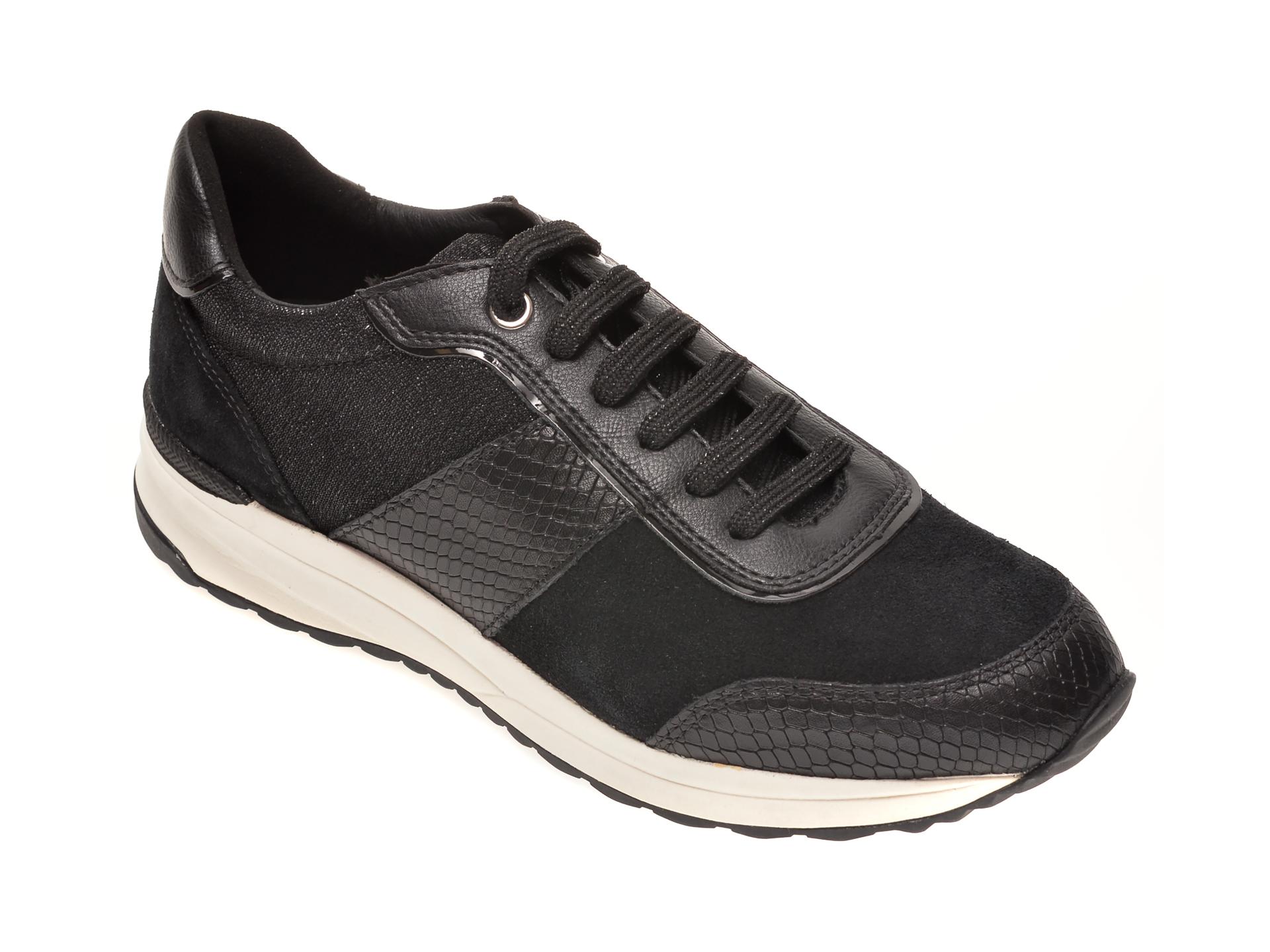Pantofi sport GEOX negri, D942SA, din material textil si piele intoarsa New