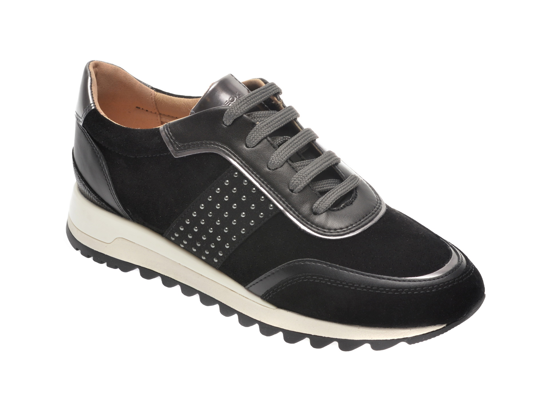 Pantofi sport GEOX negri, D94AQA, din piele intoarsa imagine